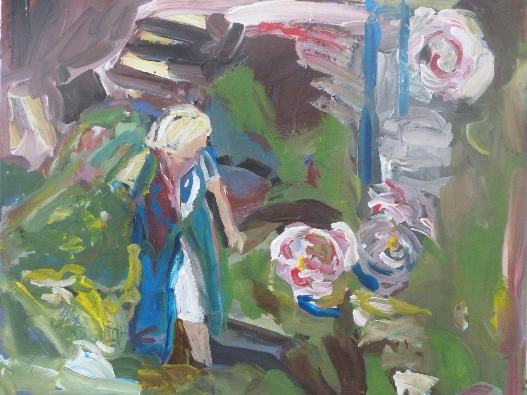 Gartenszene Acryl/Leiwand  40/50 2016