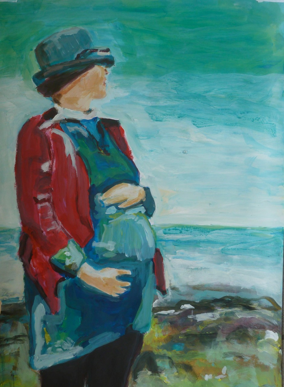 Junge Frau in Island Bay, New Zealand Acryl/Papier 40/50 2013
