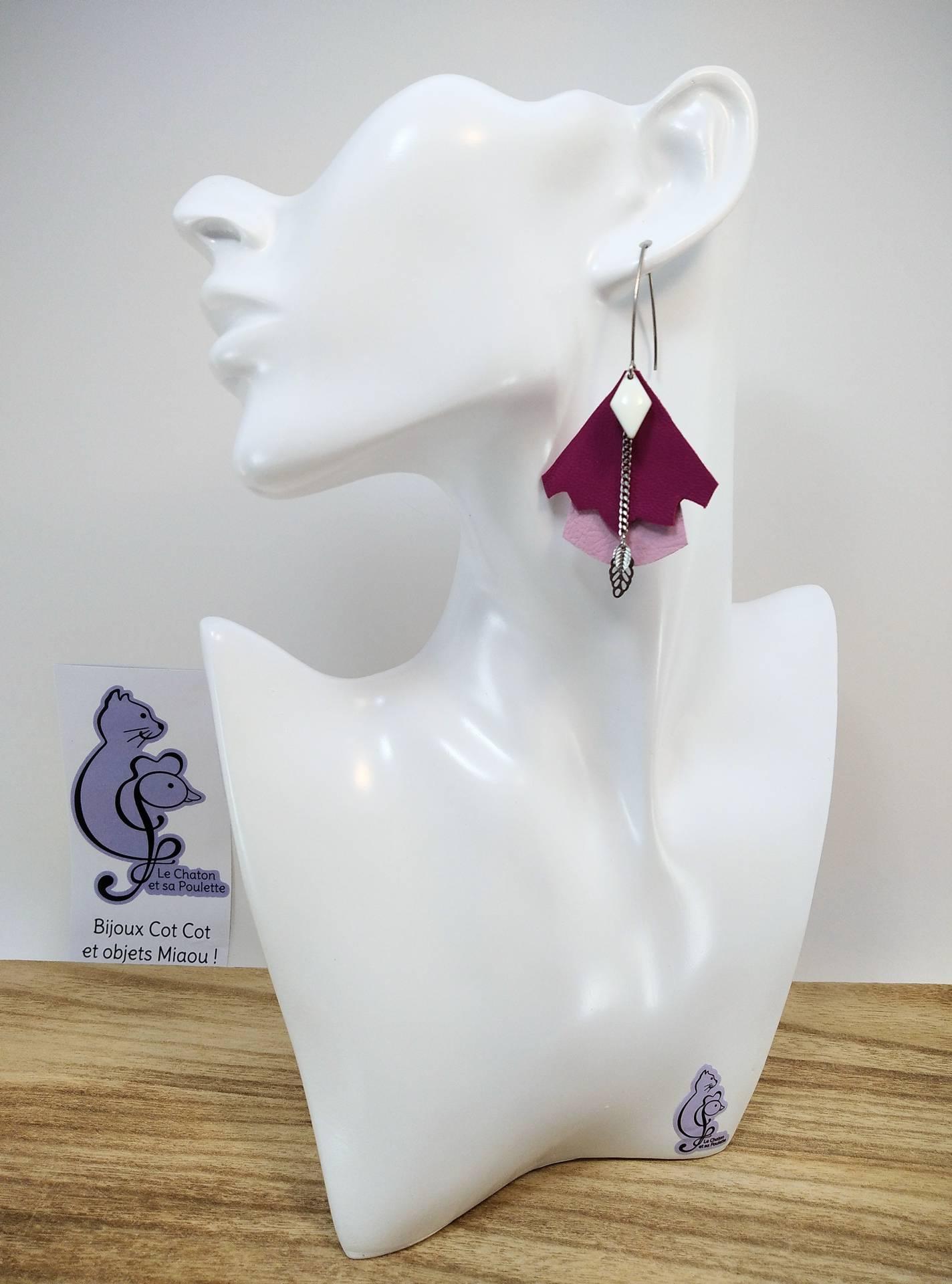 BO FORMIDABLE modèle n°5 Cuirs fuchsia et rose dragée, breloque diamant blanc