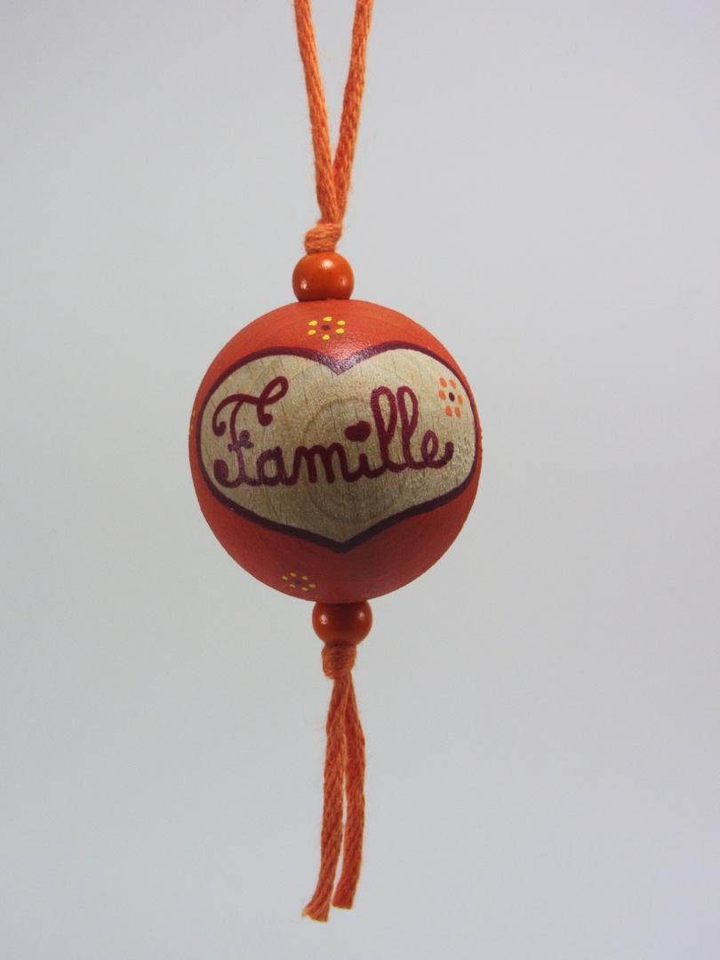 """VENDUE - Boule orange FAMILLE """"cœur"""" (orange/rouge/jaune) - Le Chaton et sa Poulette"""