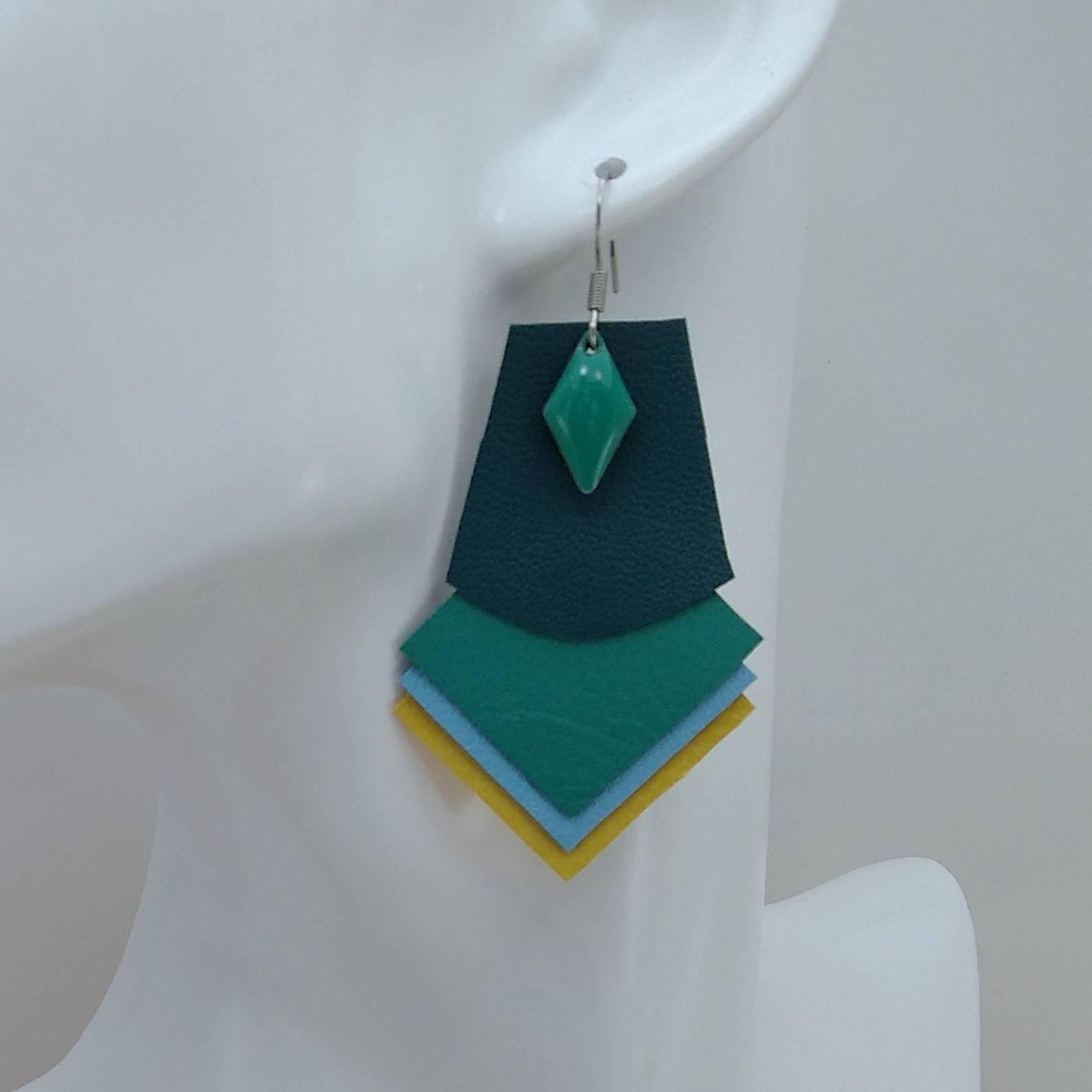 B.O. FORMIDABLE modèle 1 Breloque losange vert prasin et cuir vert émeraude/vert prasin/bleu azur/jaune