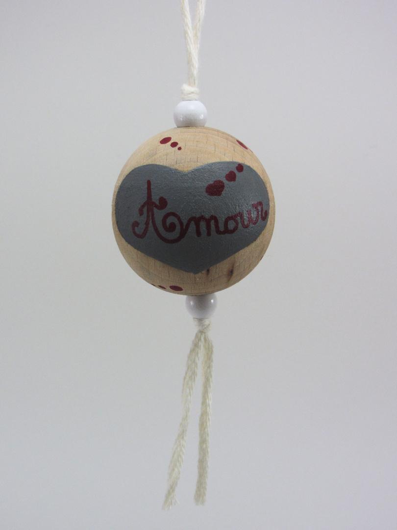 """Boule blanche AMOUR """"3 cœurs"""" (blanc/rouge/gris) - Le Chaton et sa Poulette"""