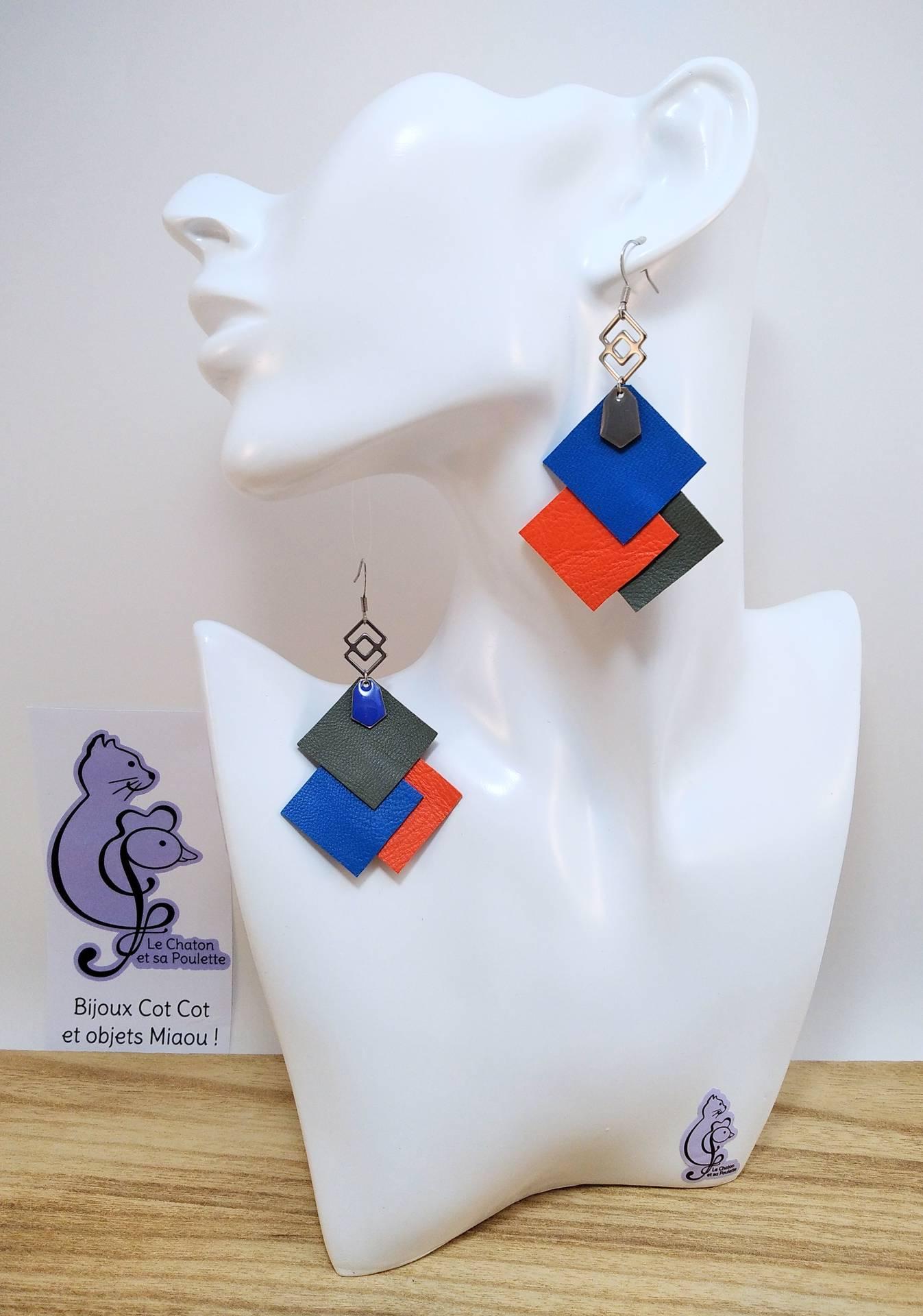 B.O. FORMIDABLE modèle 6 Cuirs bleu cobalt/orange/gris, breloque inox carrés entrelacés et diamant gris ou bleu cobalt