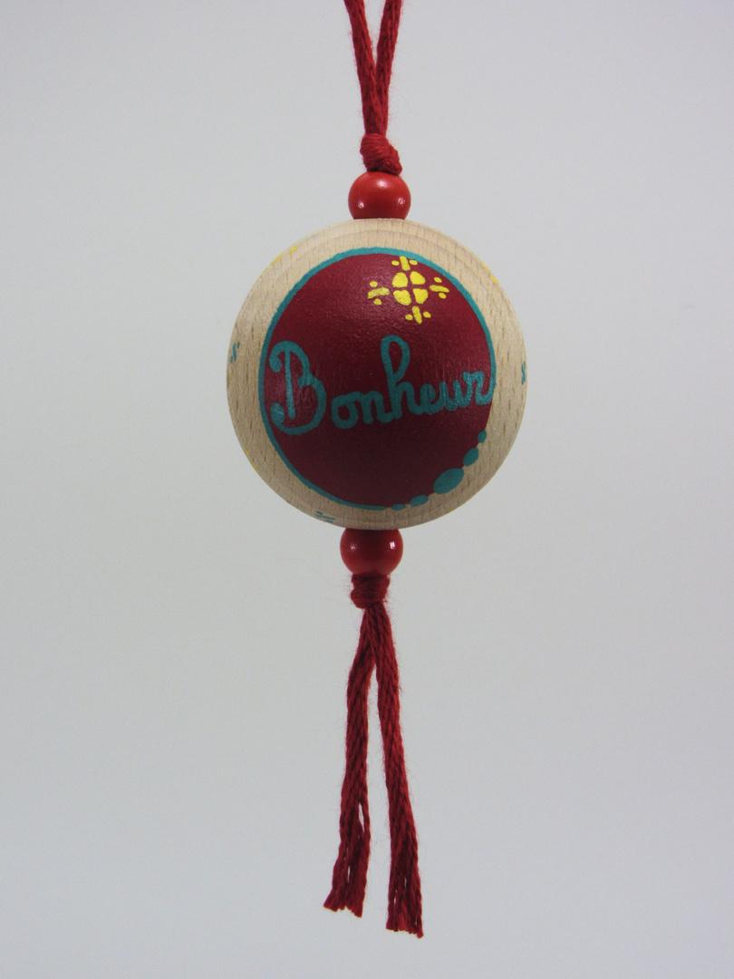 Boule rouge BONHEUR (rouge/vert/jaune) - Le Chaton et sa Poulette