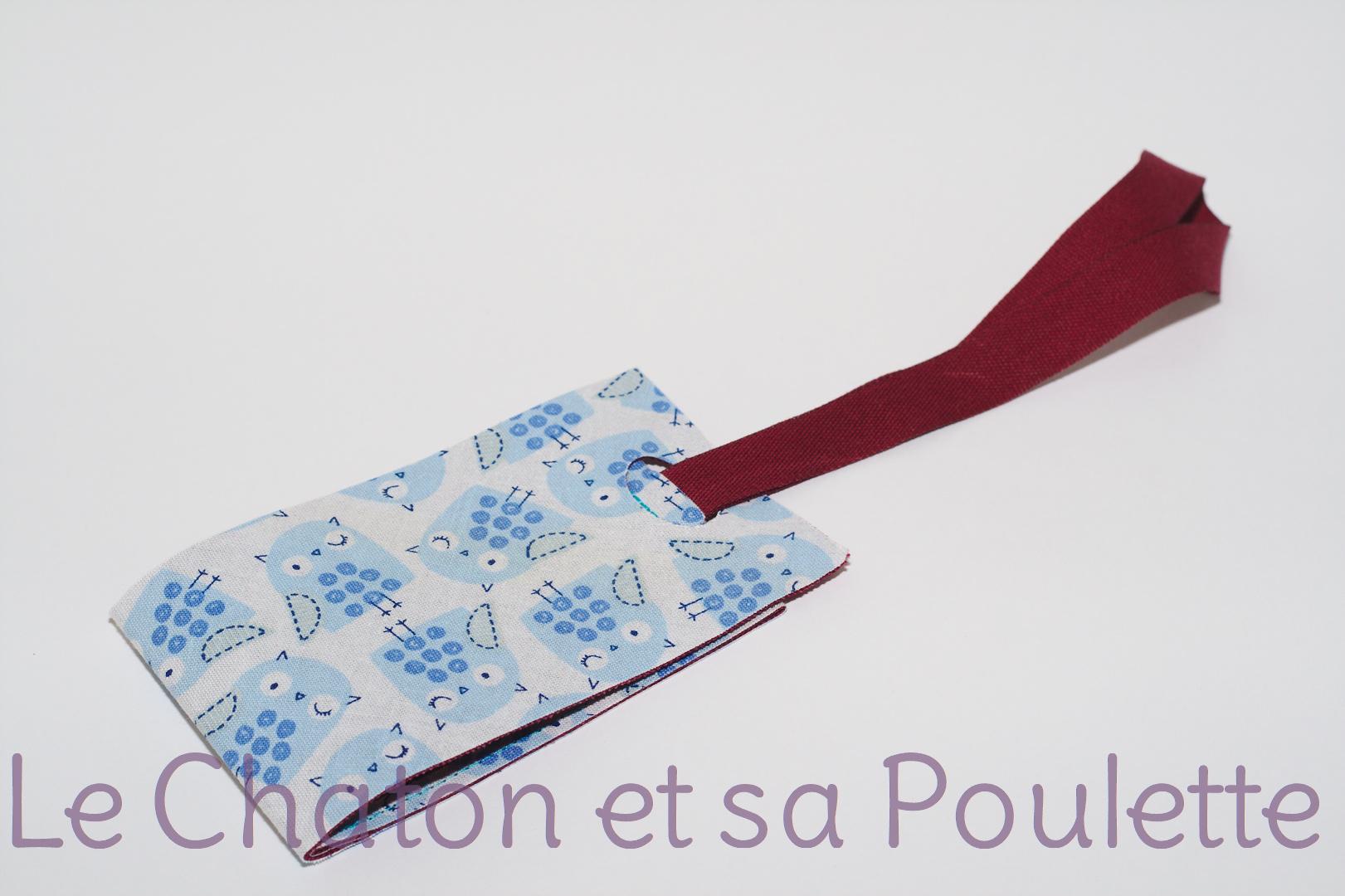 Porte-étiquette tissu Blue hiboux
