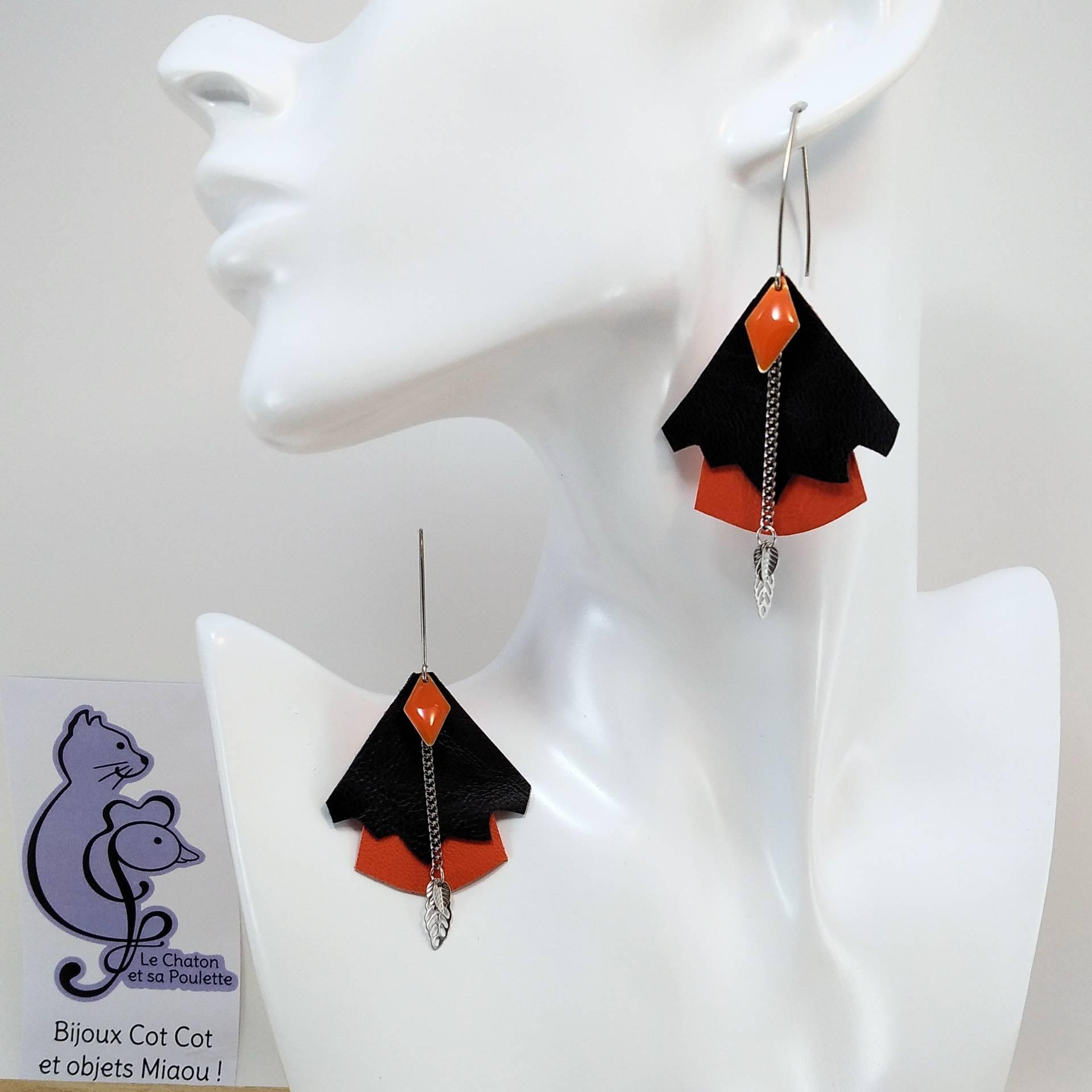 BO FORMIDABLE modèle n°5 Cuirs noir et orange, breloque diamant orange