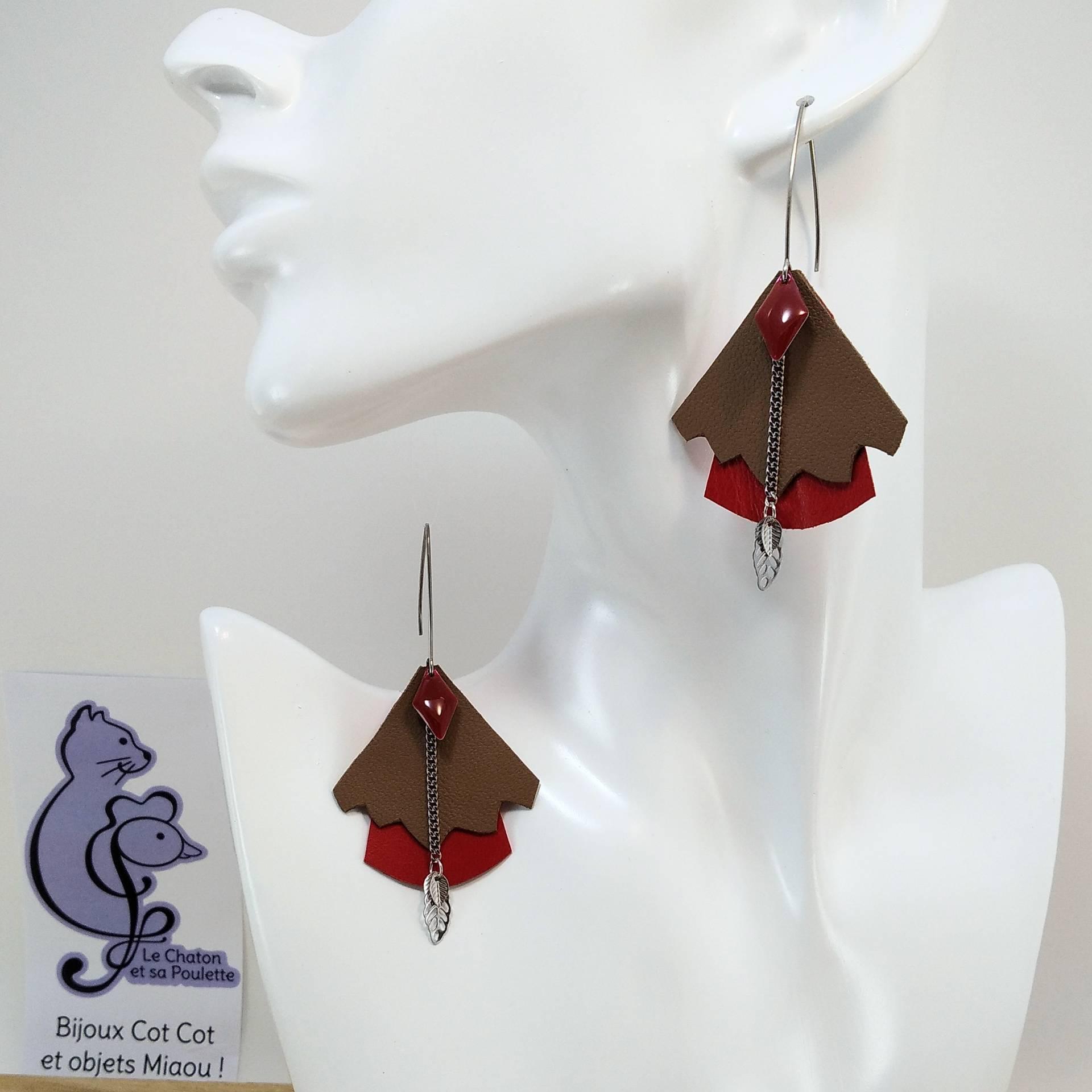 BO FORMIDABLE modèle n°5 Cuirs sépia et rouge, breloque diamant rouge