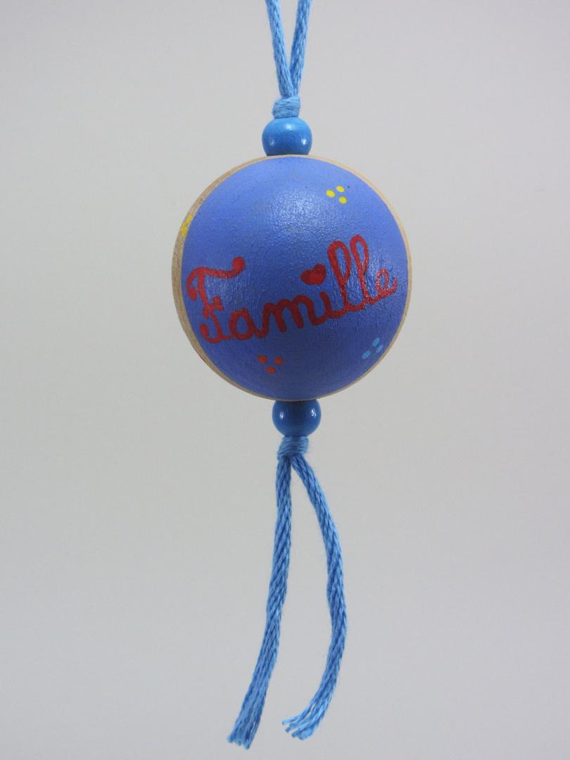 Boule bleue FAMILLE (bleu/rouge) - Le Chaton et sa Poulette