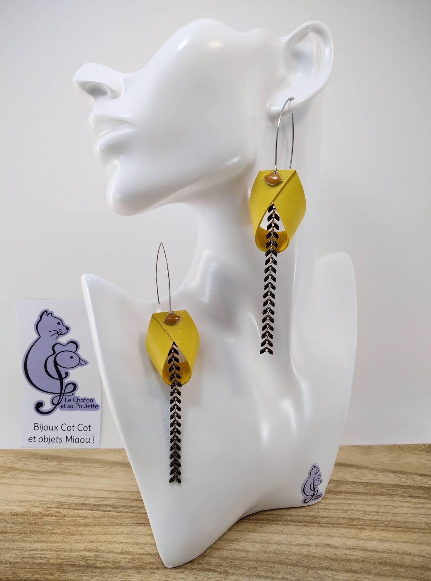 VENDUES ! B.O. FORMIDABLE modèle 2 Cuir jaune, breloque éventail moutarde et chaine épis noir