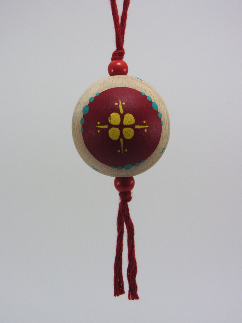 Verso Boule rouge BONHEUR (rouge/vert/jaune) - Le Chaton et sa Poulette