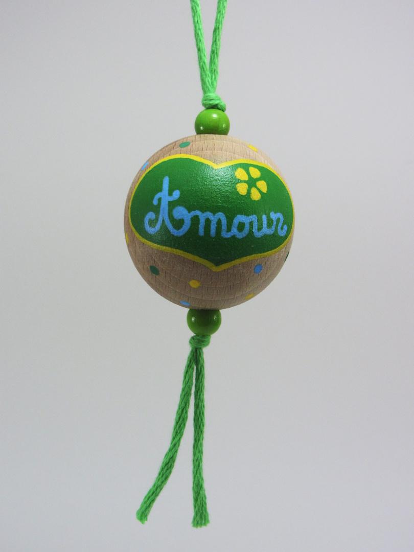 Boule verte AMOUR (vert/bleu/jaune) - Le Chaton et sa Poulette