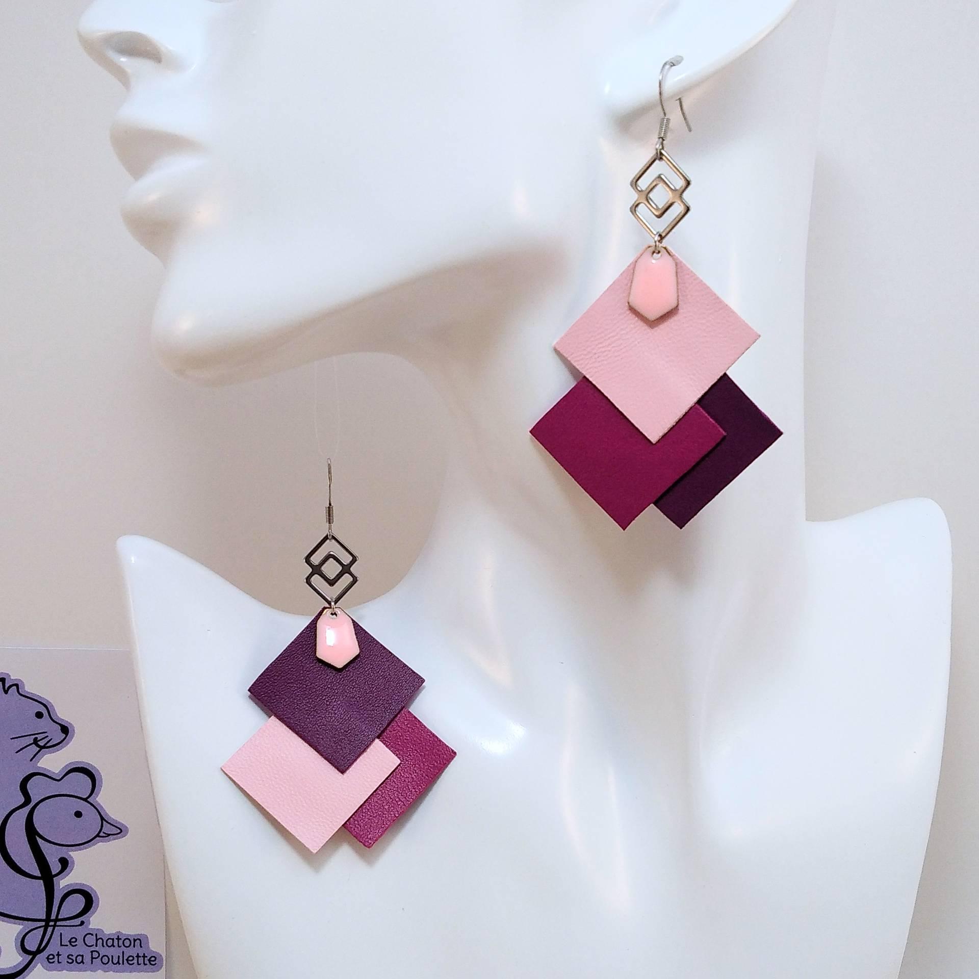 B.O. FORMIDABLE modèle 6 Cuirs rose dragée/fuchsia/améthyste, breloque inox carrés entrelacés et diamant rose clair