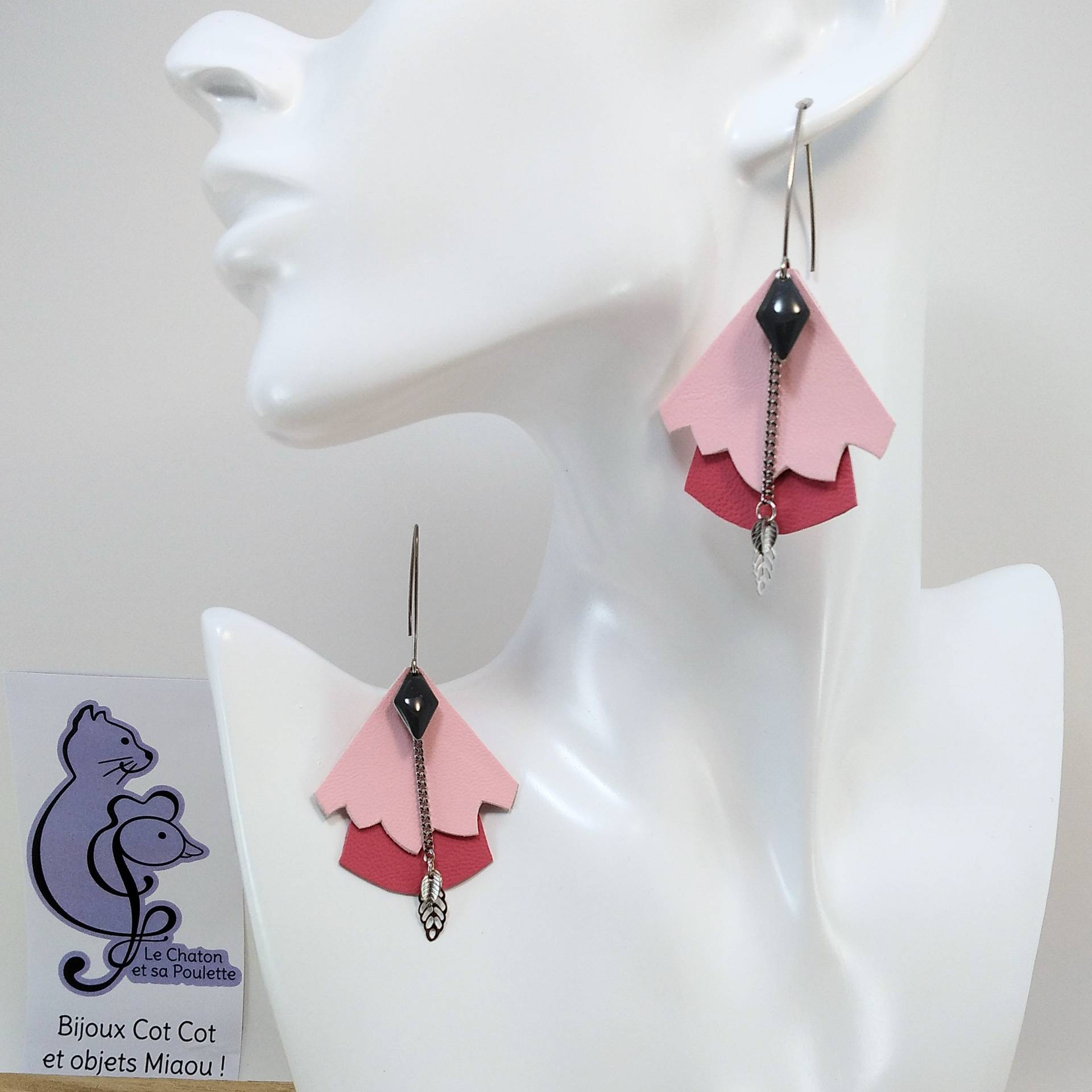BO FORMIDABLE modèle n°5 Cuirs rose dragée et rose, breloque diamant gris