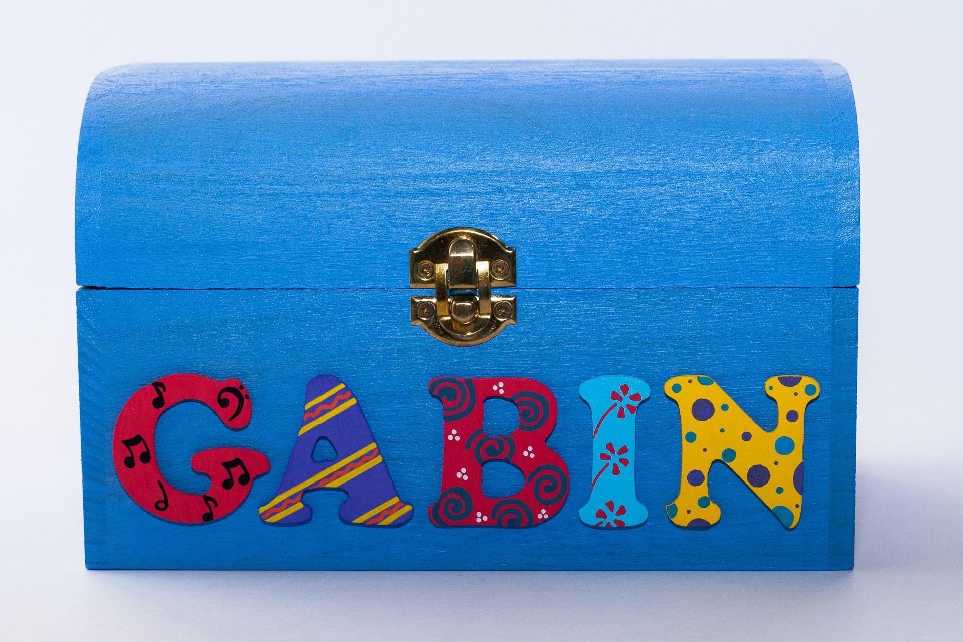 Coffret bleu ciel, prénom décoré Gabin
