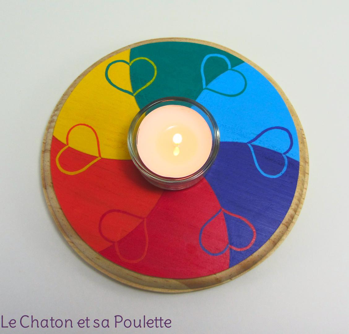 Photophore CŒURS DANSANTS (rouge/orange/jaune/vert/bleu/violet) - Le chaton et sa Poulette