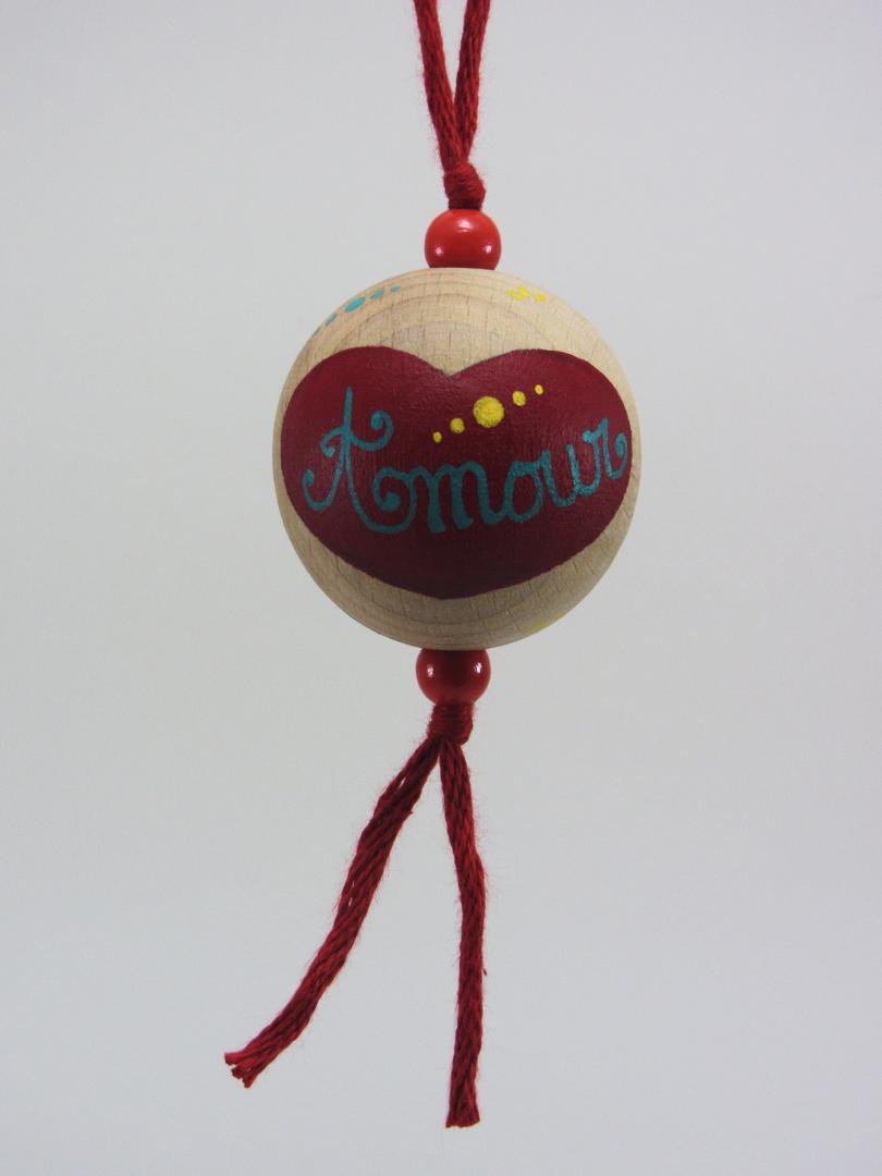 """Boule rouge AMOUR """"points"""" (rouge/vert/jaune/bleu) - Le Chaton et sa Poulette"""