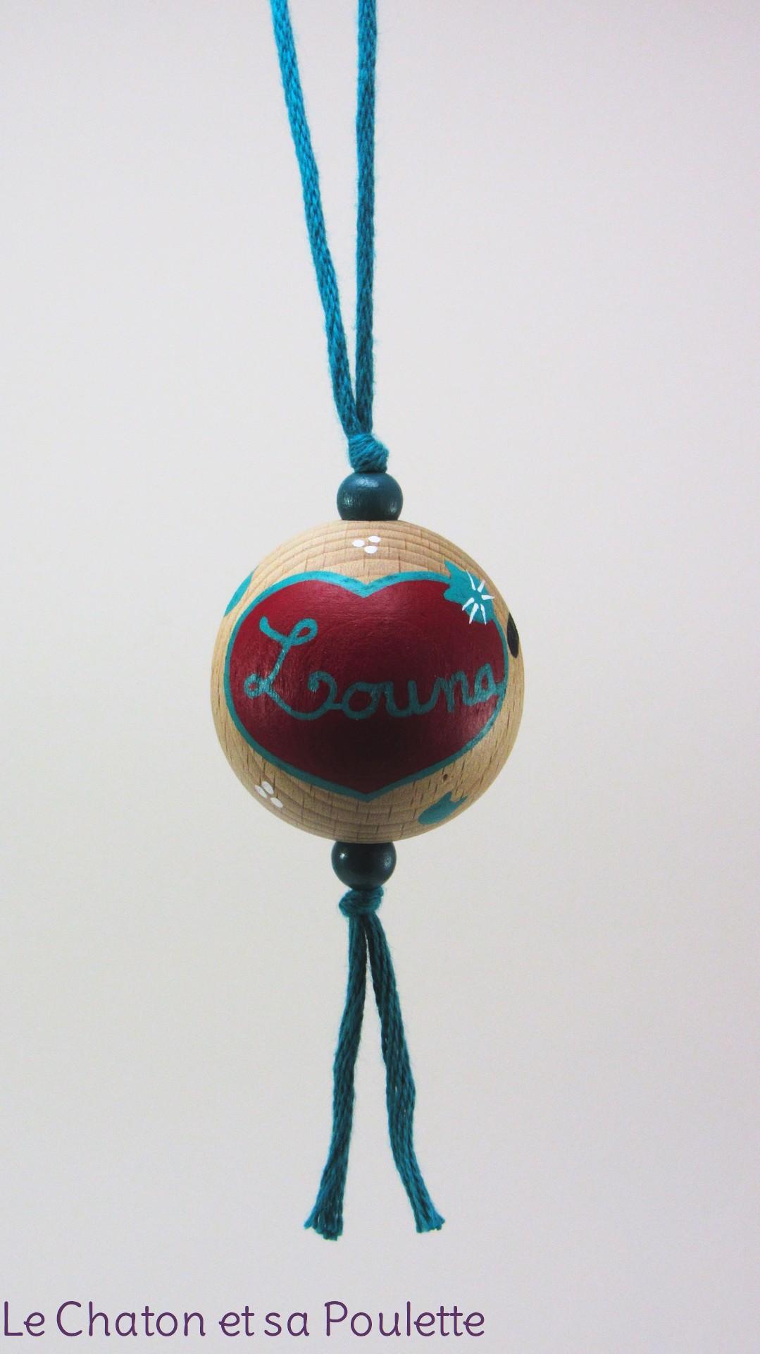 Boule rouge LOUNA - Le Chaton et sa Poulette