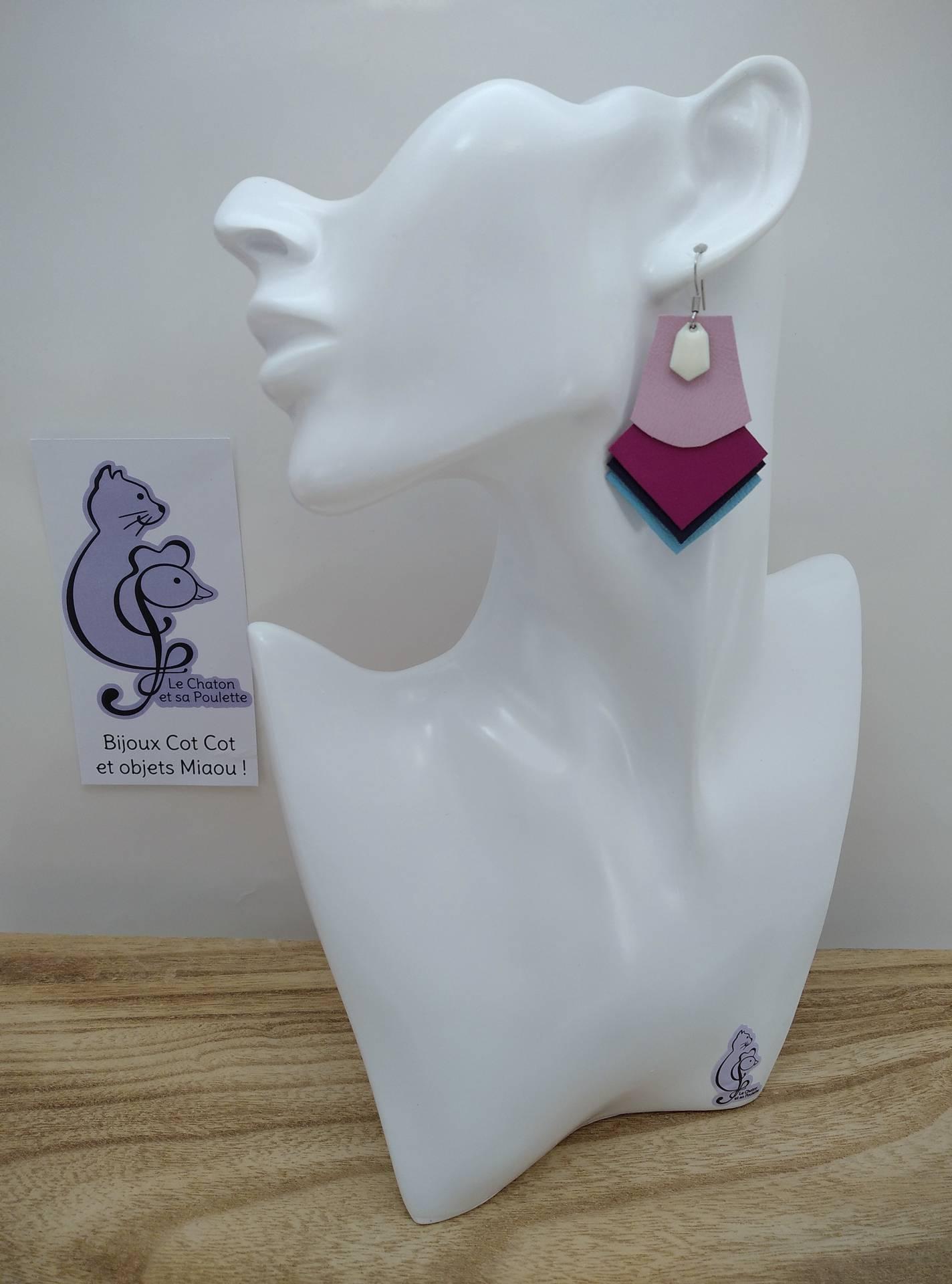 B.O. FORMIDABLE modèle 1 Breloque diamant blanc et cuir rose dragée/fuchsia/bleu nuit/bleu azur