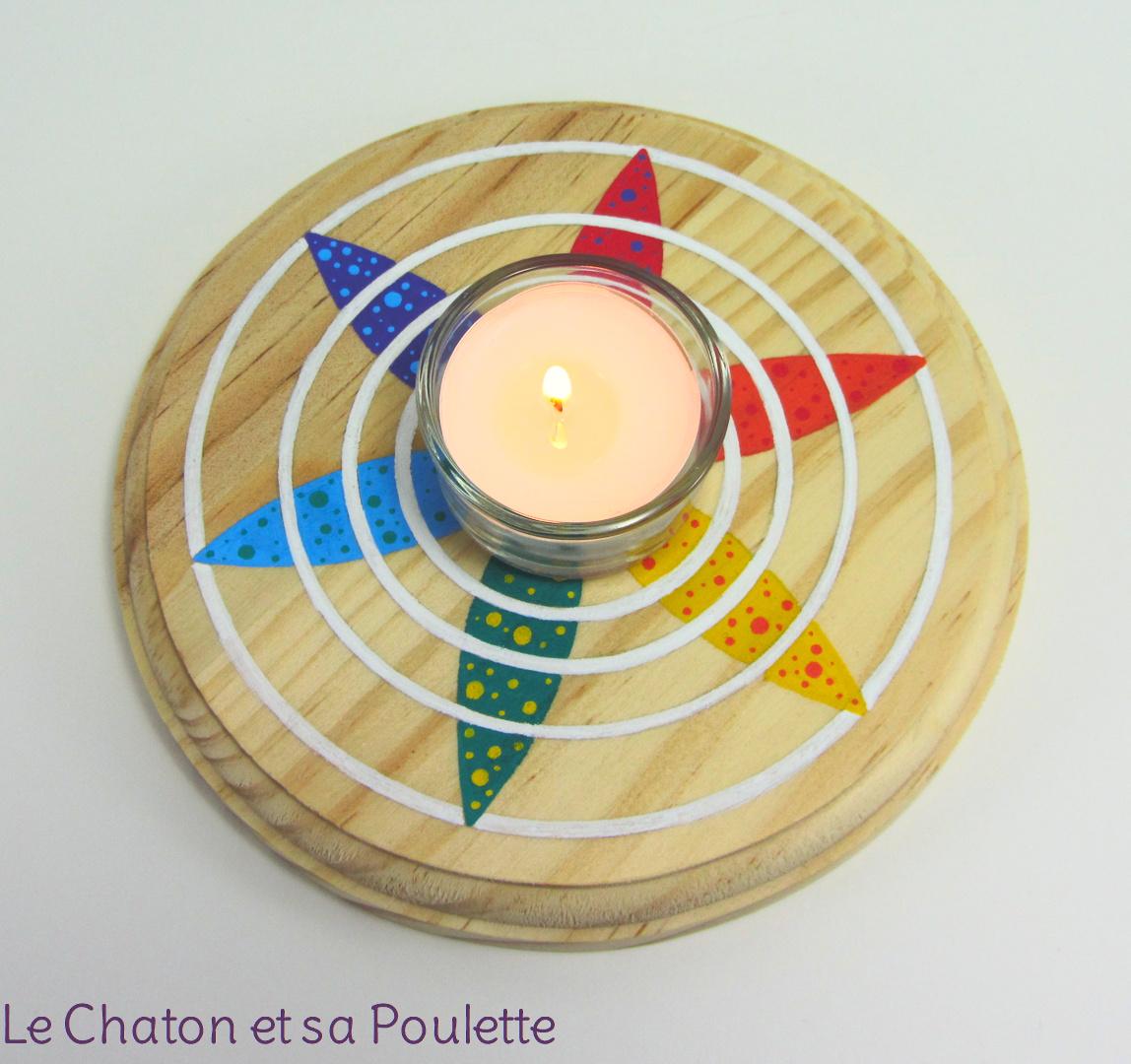 Photophore ONDES D'ÉTOILE (rouge/orange/jaune/vert/bleu/violet et blanc) - Le chaton et sa Poulette