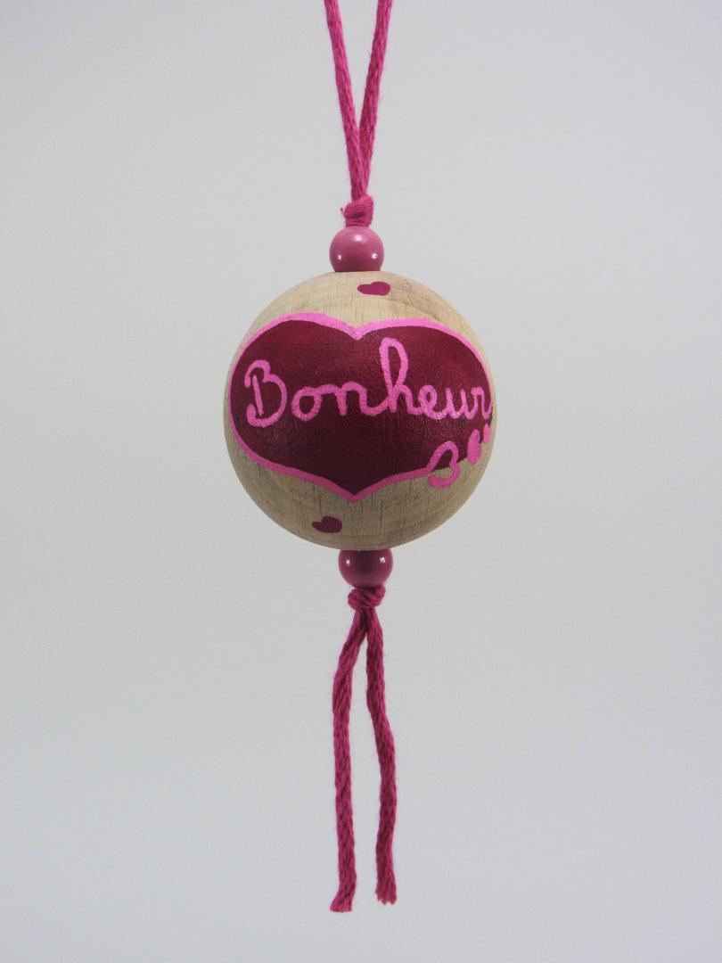 "Boule fuchsia BONHEUR ""petits cœurs"" (fuchsia/rose) - Le Chaton et sa Poulette"