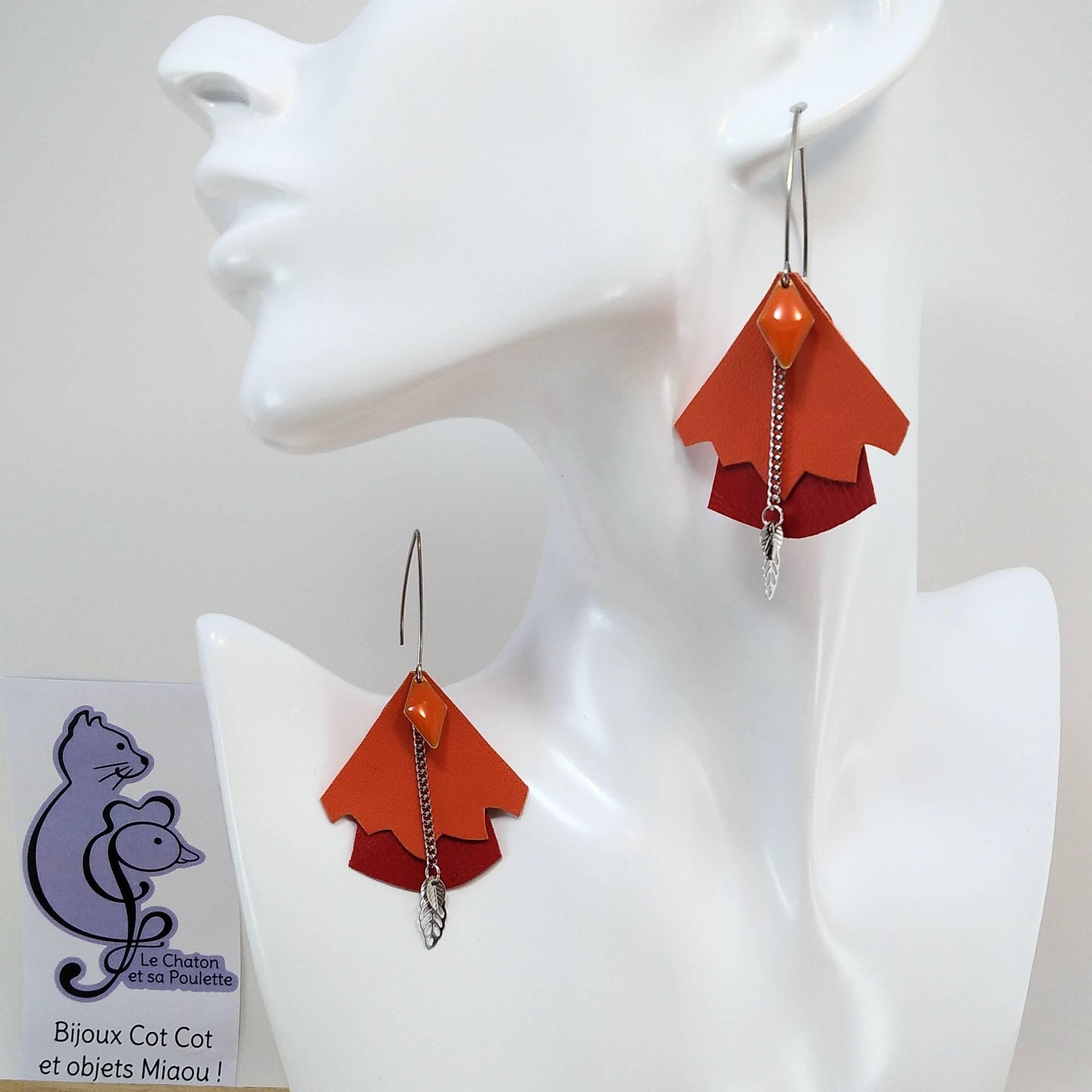 BO FORMIDABLE modèle n°5 Cuirs orange et rouge, breloque diamant orange