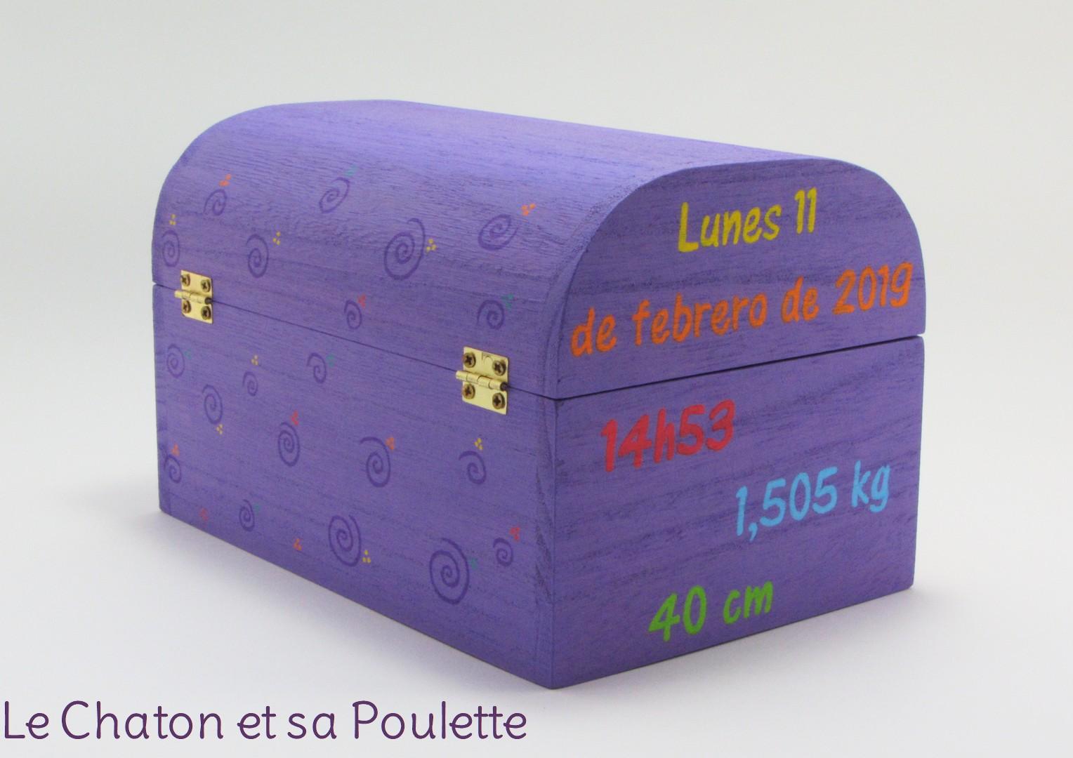 Coffret souvenirs de naissance lilas RODRIGO - Le Chaton et sa Poulette