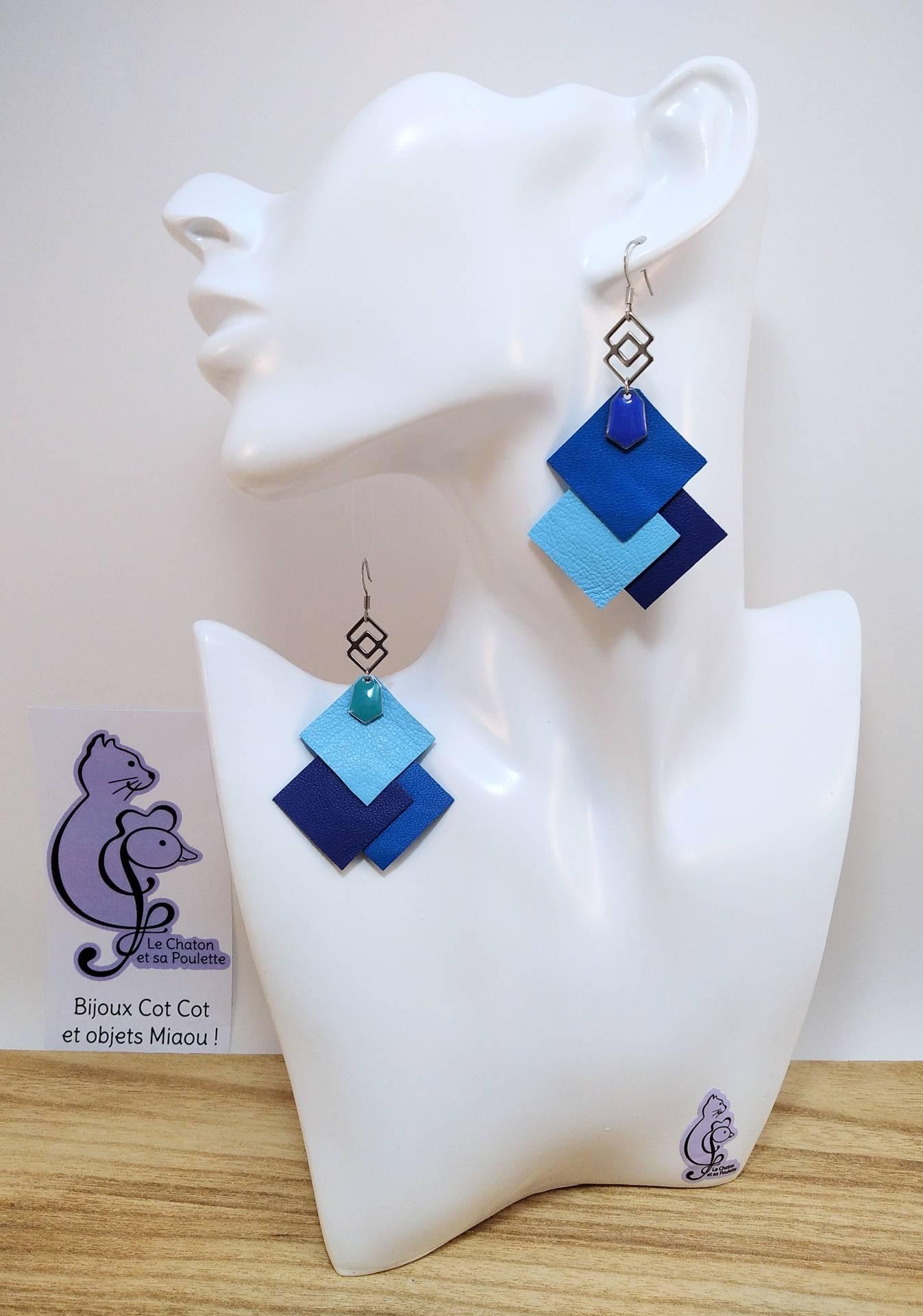 B.O. FORMIDABLE modèle 6 Cuirs bleu cobalt/bleu azur/bleu marine, breloque inox carrés entrelacés et diamant bleu cobalt ou turquoise