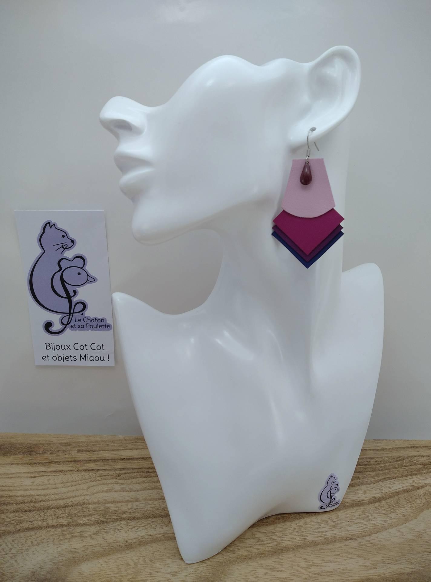 VENDUES ! B.O. FORMIDABLE modèle 1 Breloque goutte bordeaux et cuir rose dragée/fuchsia/améthyste/bleu marine