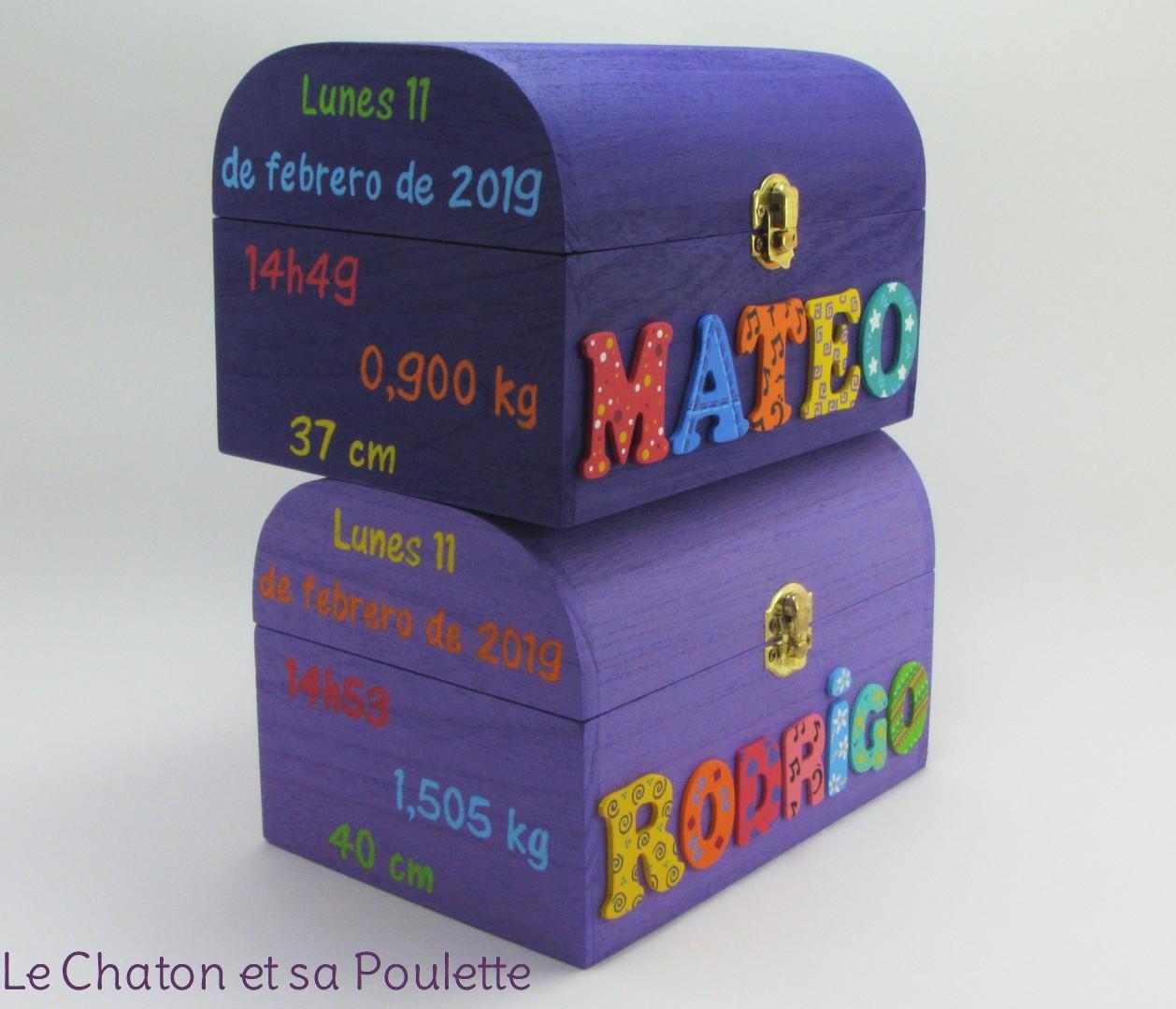 Coffrets souvenirs de naissance violet MATEO et lilas RODRIGO - Le Chaton et sa Poulette