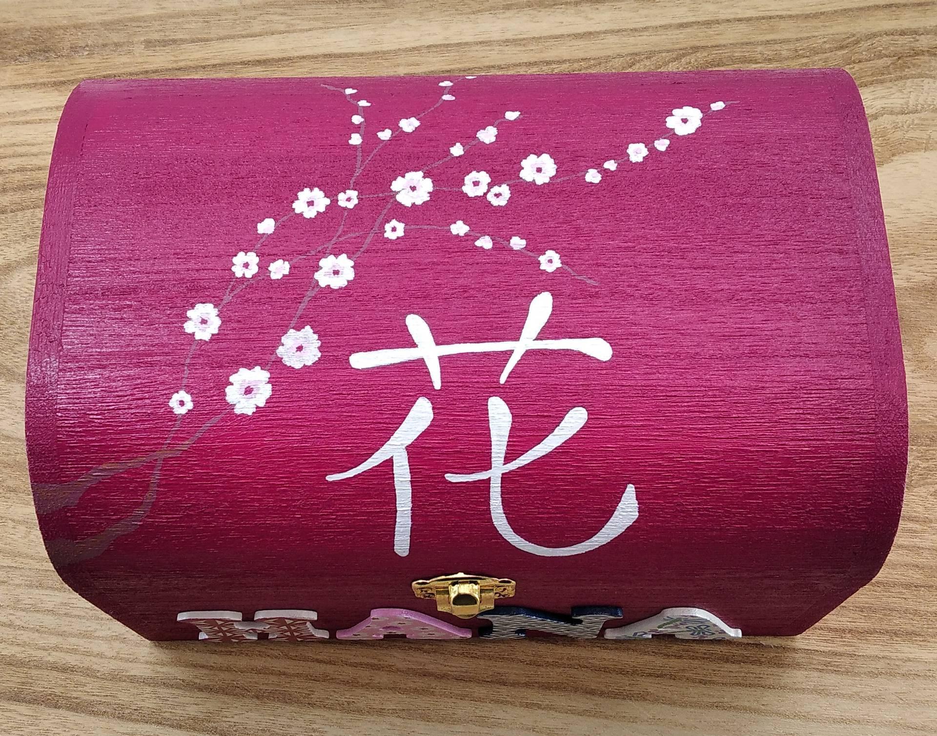 Coffret fuchsia, prénom décoré Hana, thème japonais