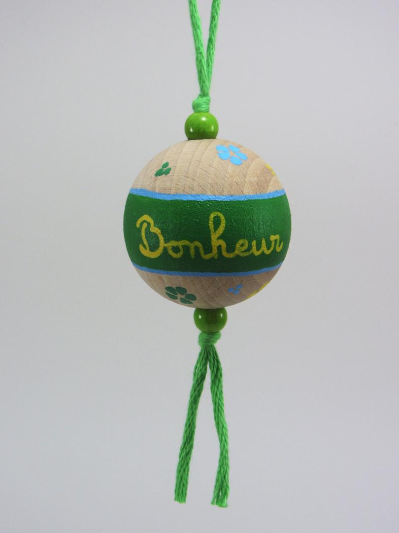 Boule verte BONHEUR Verso ensemble (vert/bleu/jaune) - Le Chaton et sa Poulette