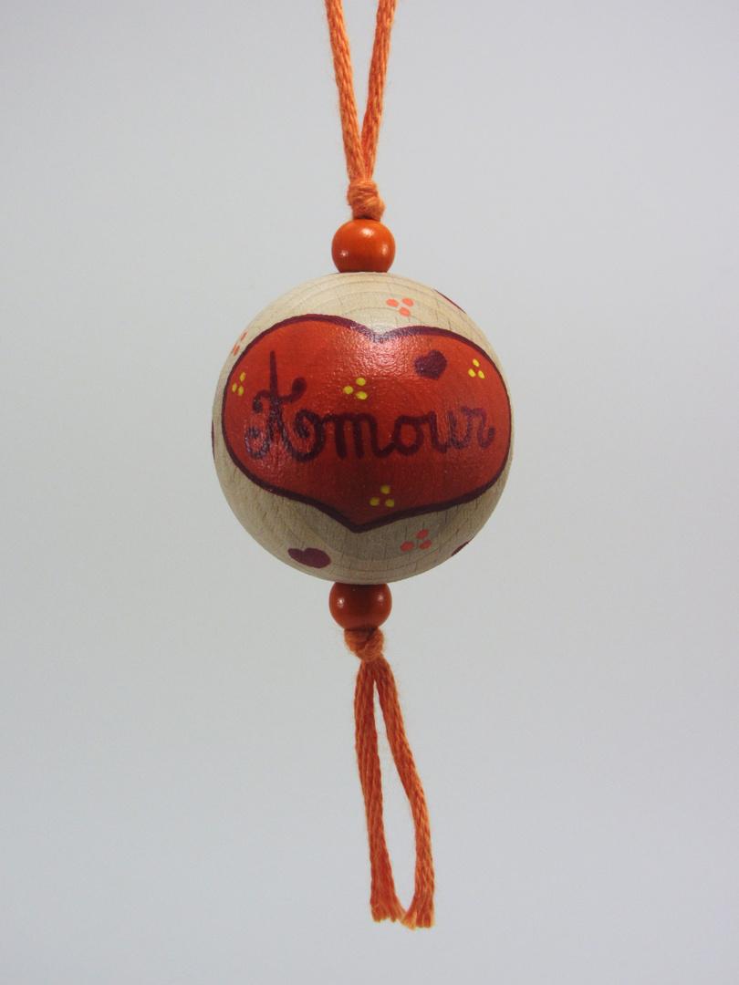 Boule orange AMOUR (orange/rouge/jaune) - Le Chaton et sa Poulette