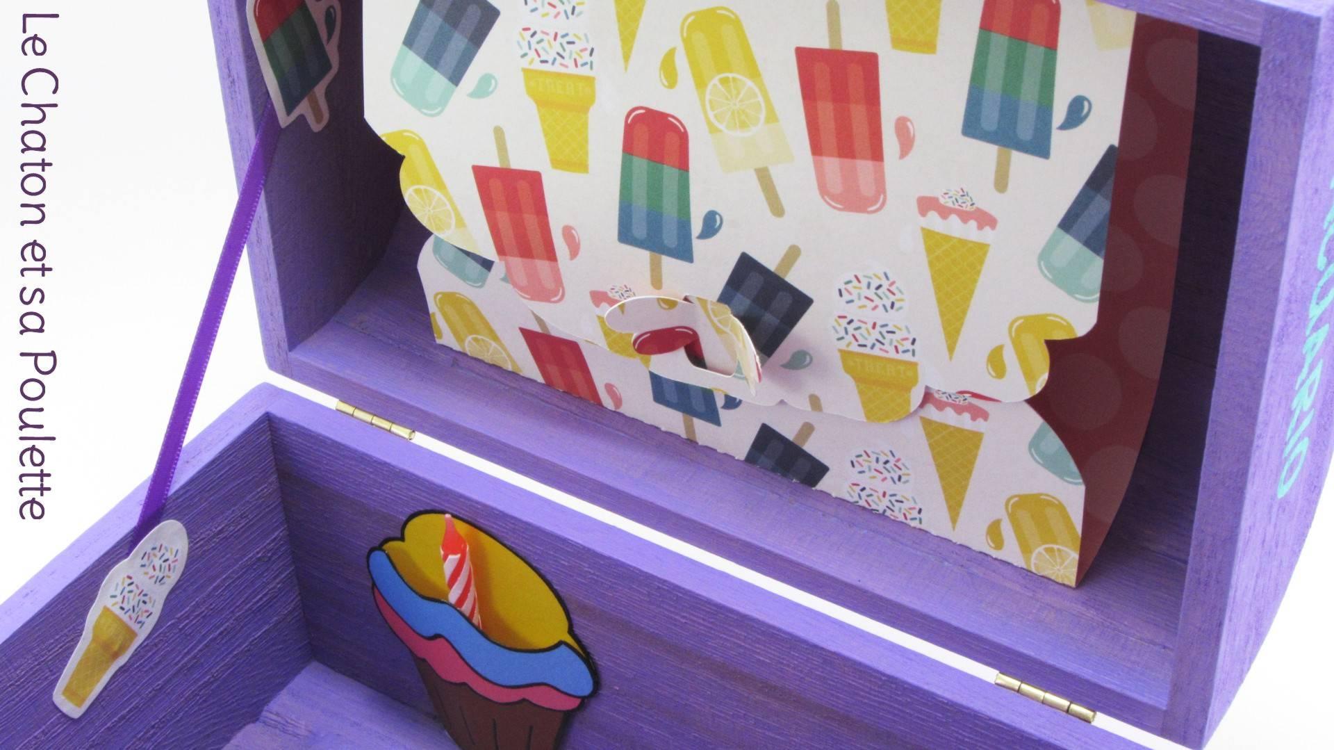 Coffret lilas Rodrigo, intérieur avec pochette cupcake et pochette dans le couvercle