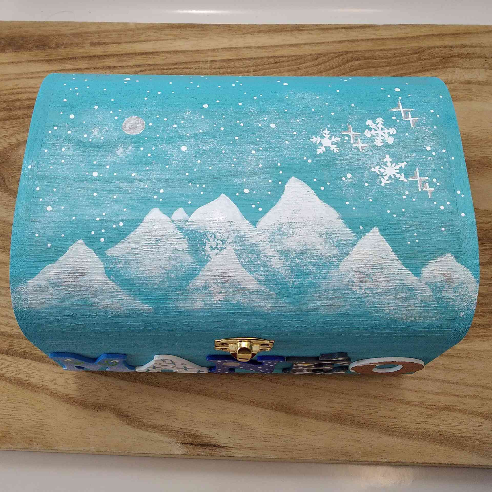 Coffret turquoise Manéo, décoration 1ers flocons de neige