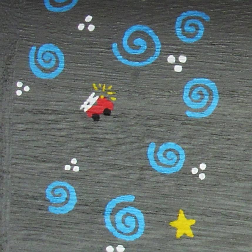 Coffret gris éléphant Gabin, décoration petits motifs avec rappel pompier