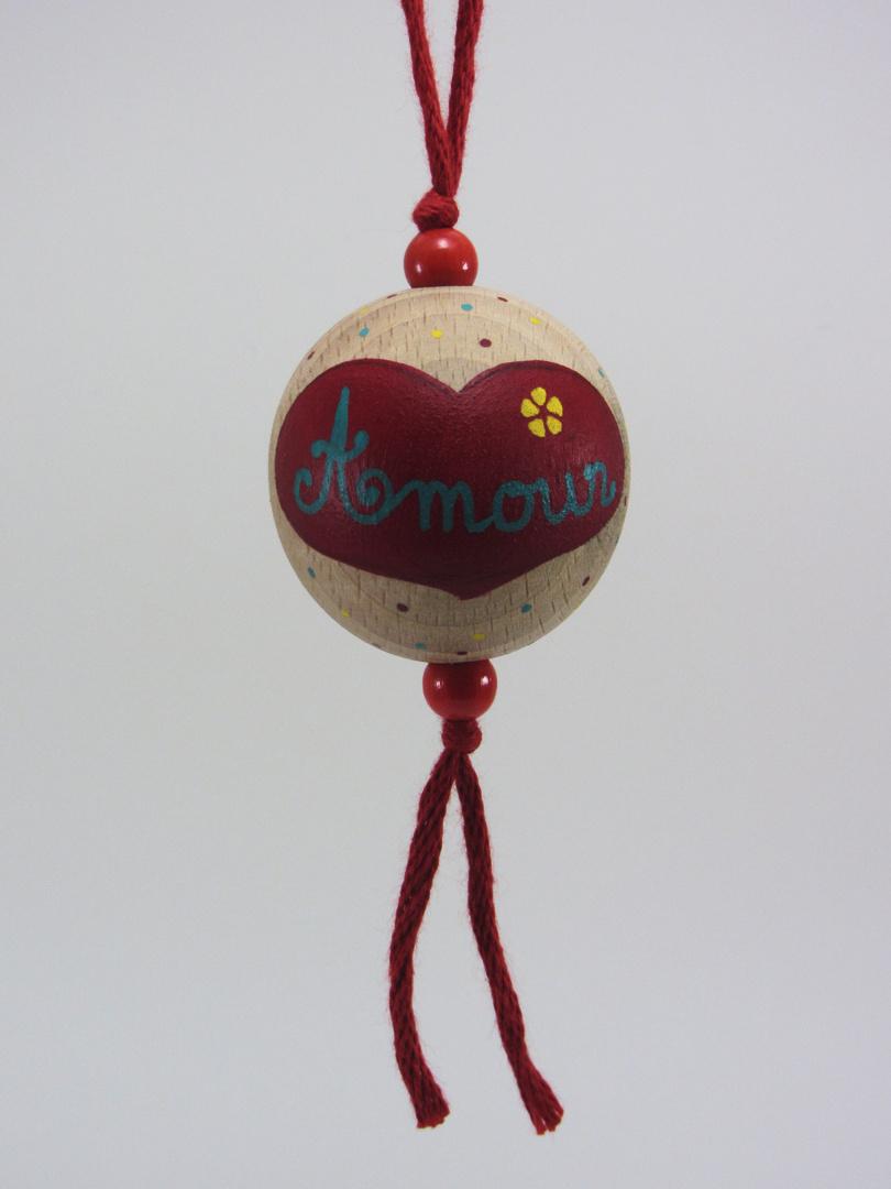 """Boule rouge AMOUR """"fleur"""" (rouge/vert/jaune) - Le Chaton et sa Poulette"""
