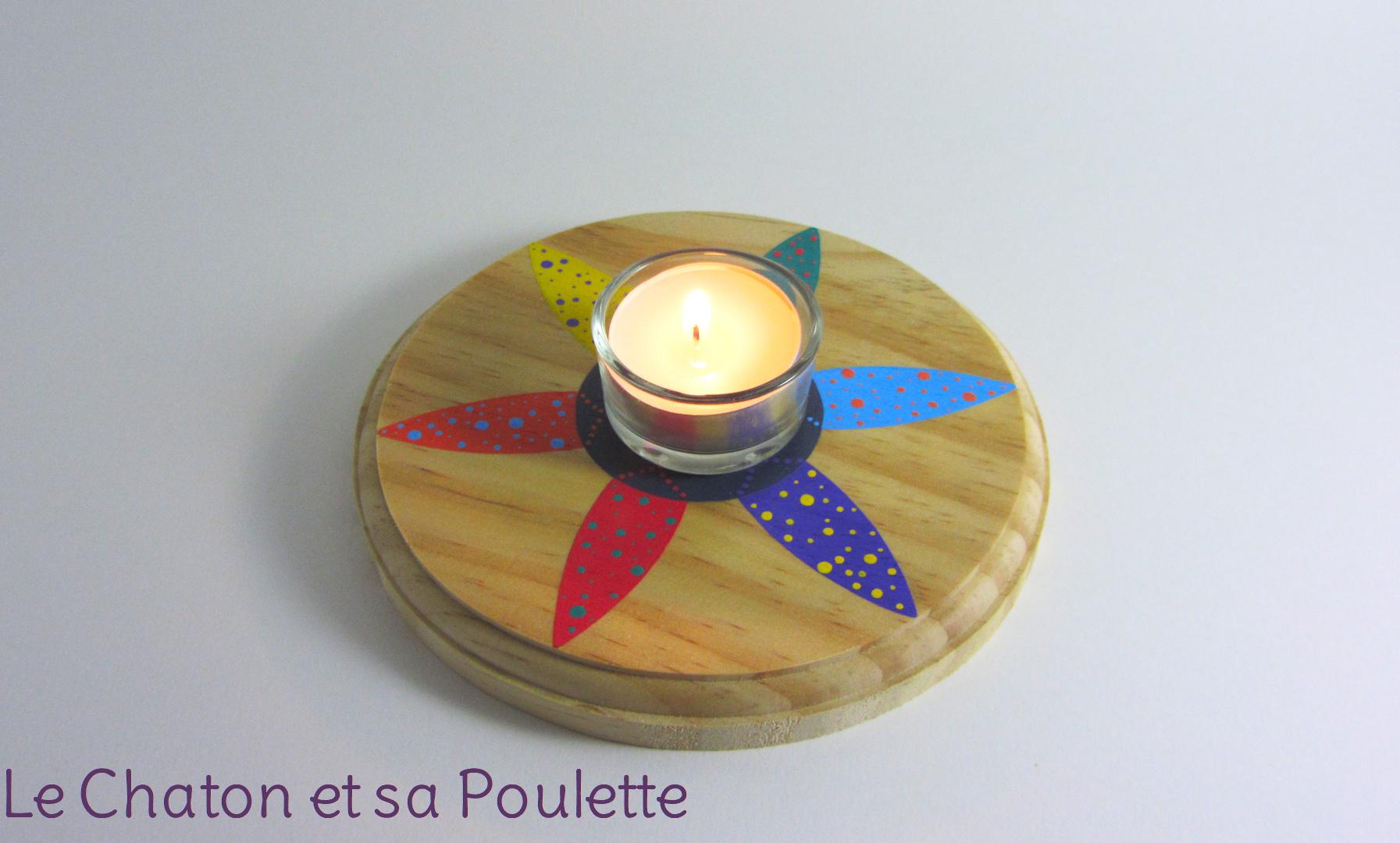 Photophore PÉTALES (rouge/orange/jaune/vert/bleu/violet/gris et blanc) - Le chaton et sa Poulette