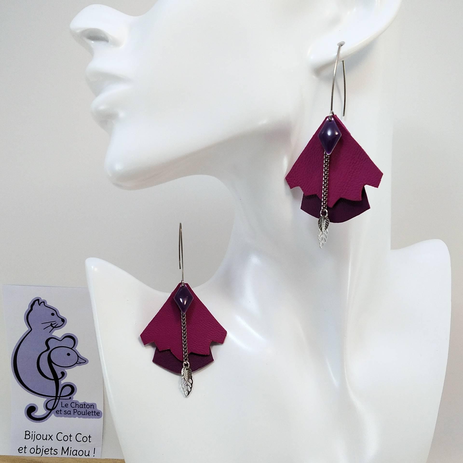 BO FORMIDABLE modèle n°5 Cuirs fuchsia et prune, breloque diamant prune