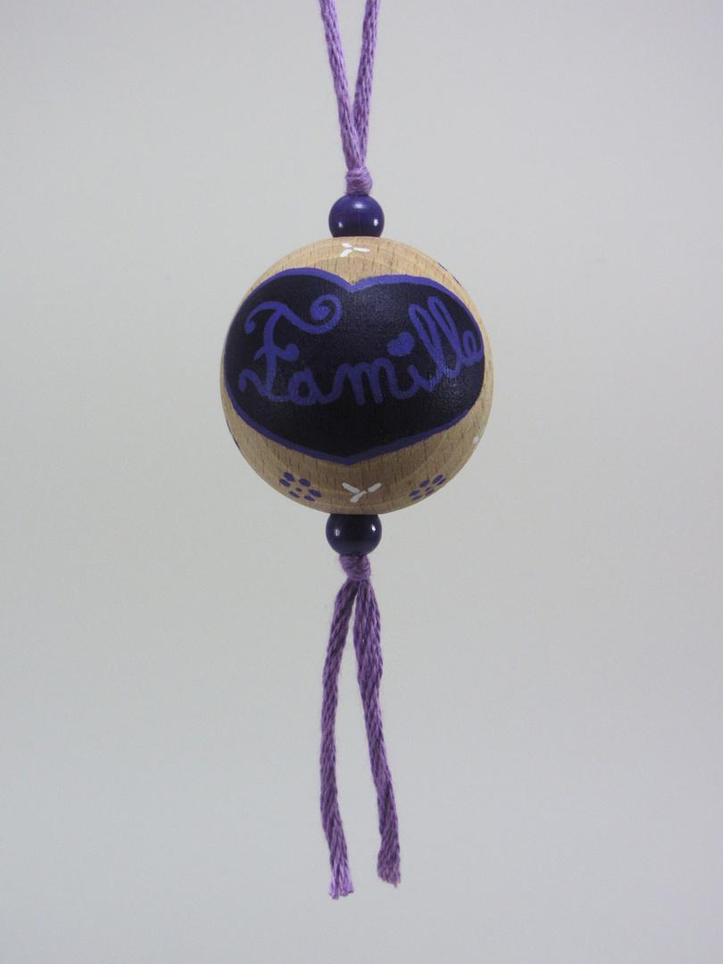 Boule violette FAMILLE (violet/blanc) - Le Chaton et sa Poulette