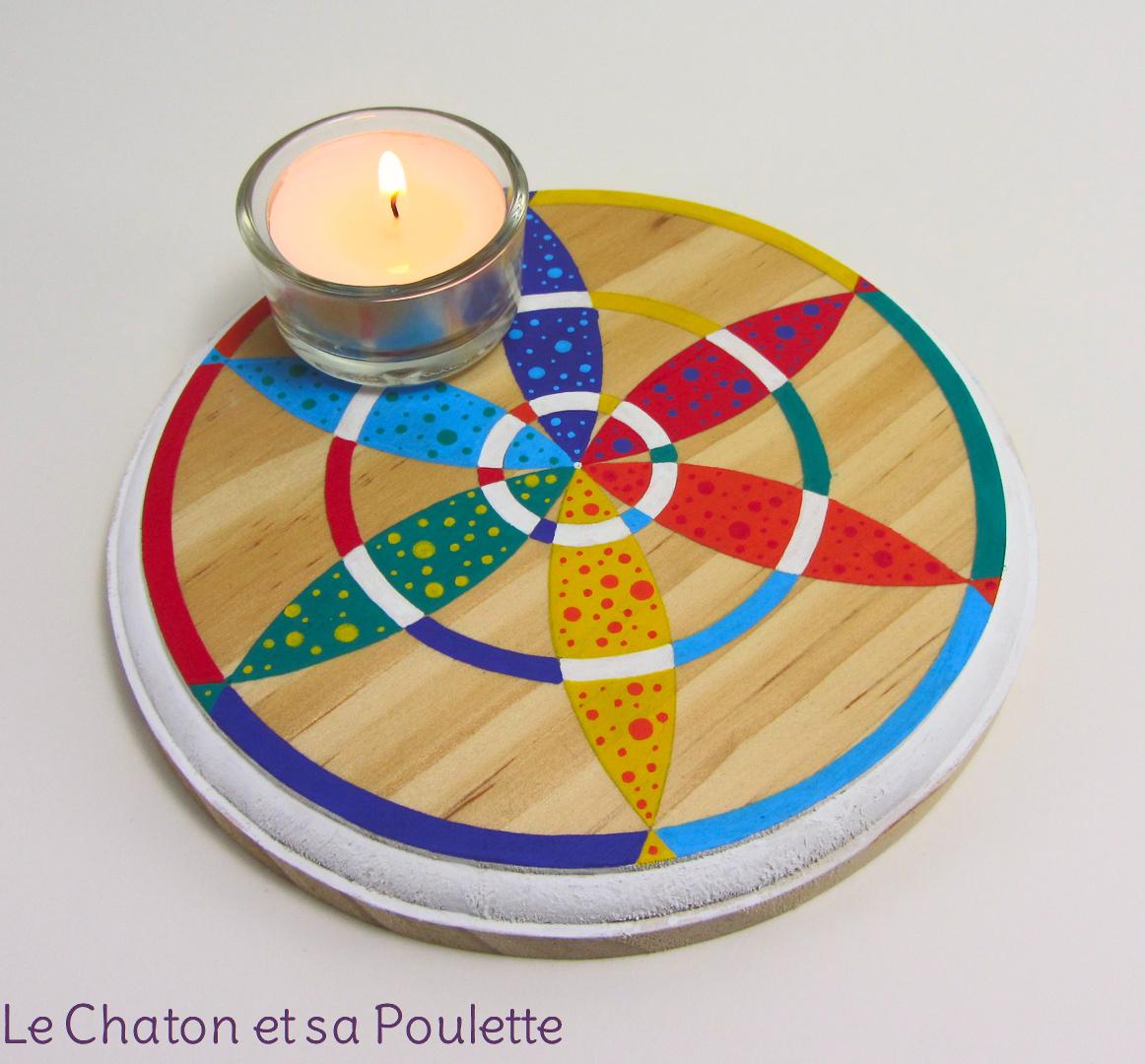 VENDU - Photophore CIBLE ÉTOILÉE (rouge/orange/jaune/vert/bleu/violet et blanc) - Le chaton et sa Poulette