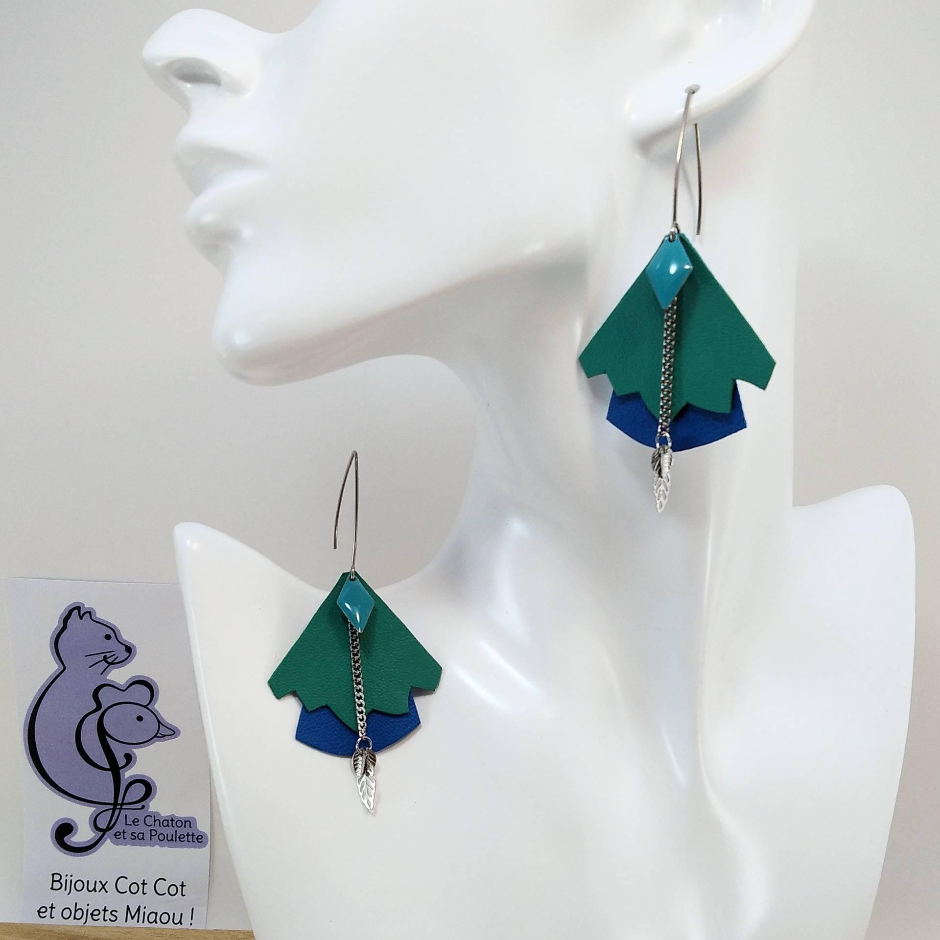 BO FORMIDABLE modèle n°5 Cuirs vert prasin et bleu cobalt, breloque diamant turquoise