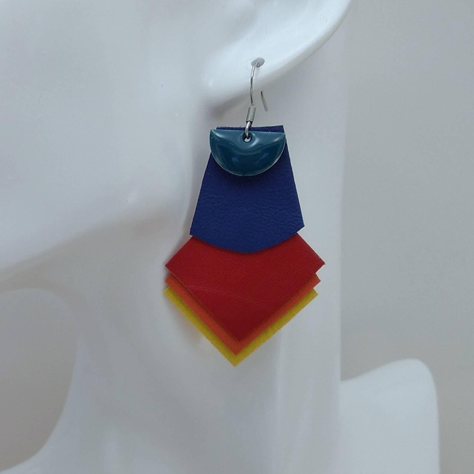 B.O. FORMIDABLE modèle 1 Breloque demi-cercle bleu canard et cuir bleu marine/rouge/orange/jaune