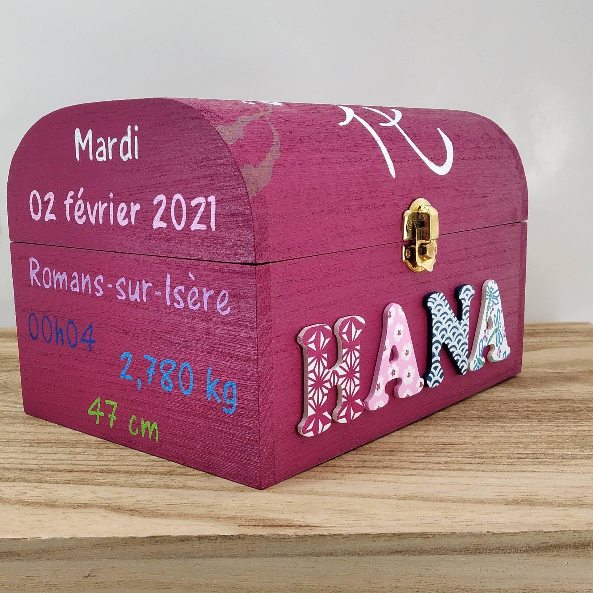 Coffret fuchsia, prénom décoré Hana, informations de naissance