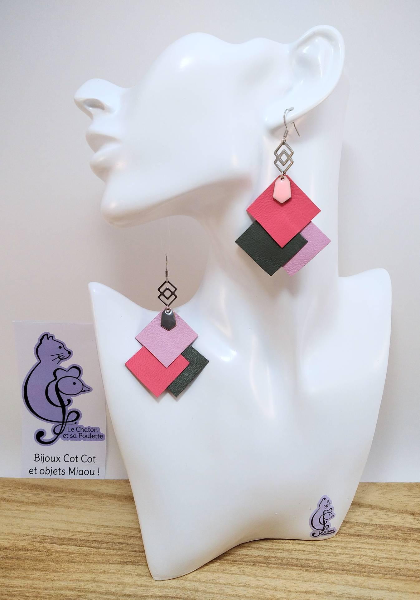 B.O. FORMIDABLE modèle 6 Cuirs rose/gris/rose dragée, breloque inox carrés entrelacés et diamant rose clair ou gris
