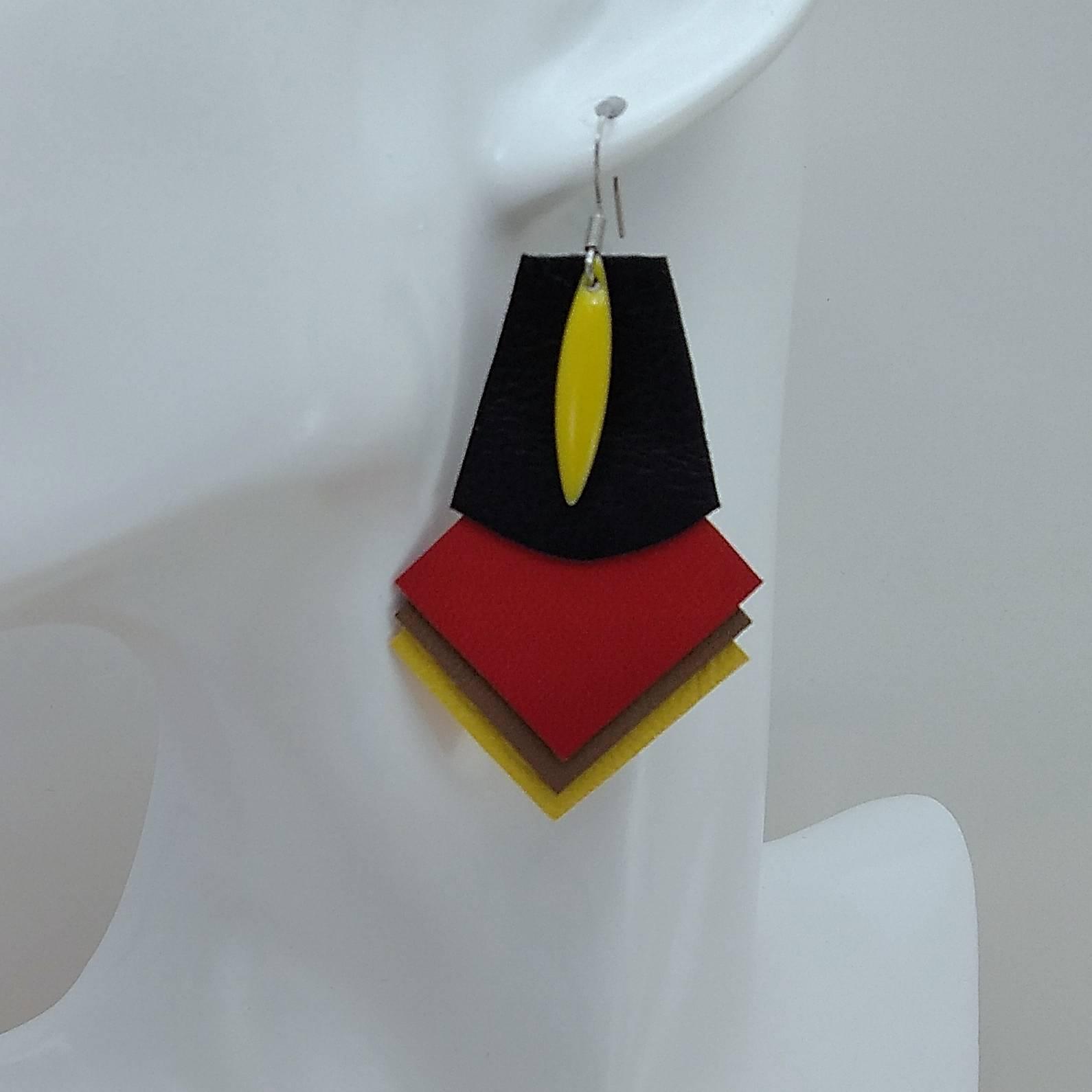 VENDUES ! B.O. FORMIDABLE modèle 1 Breloque navette jaune et cuir noir/rouge/sépia/jaune