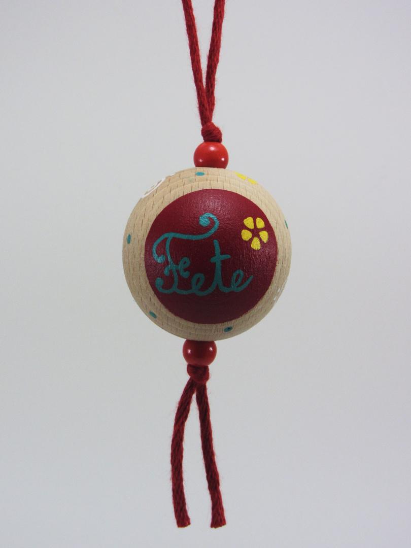 Boule rouge FÊTE (rouge/vert/jaune) - Le Chaton et sa Poulette
