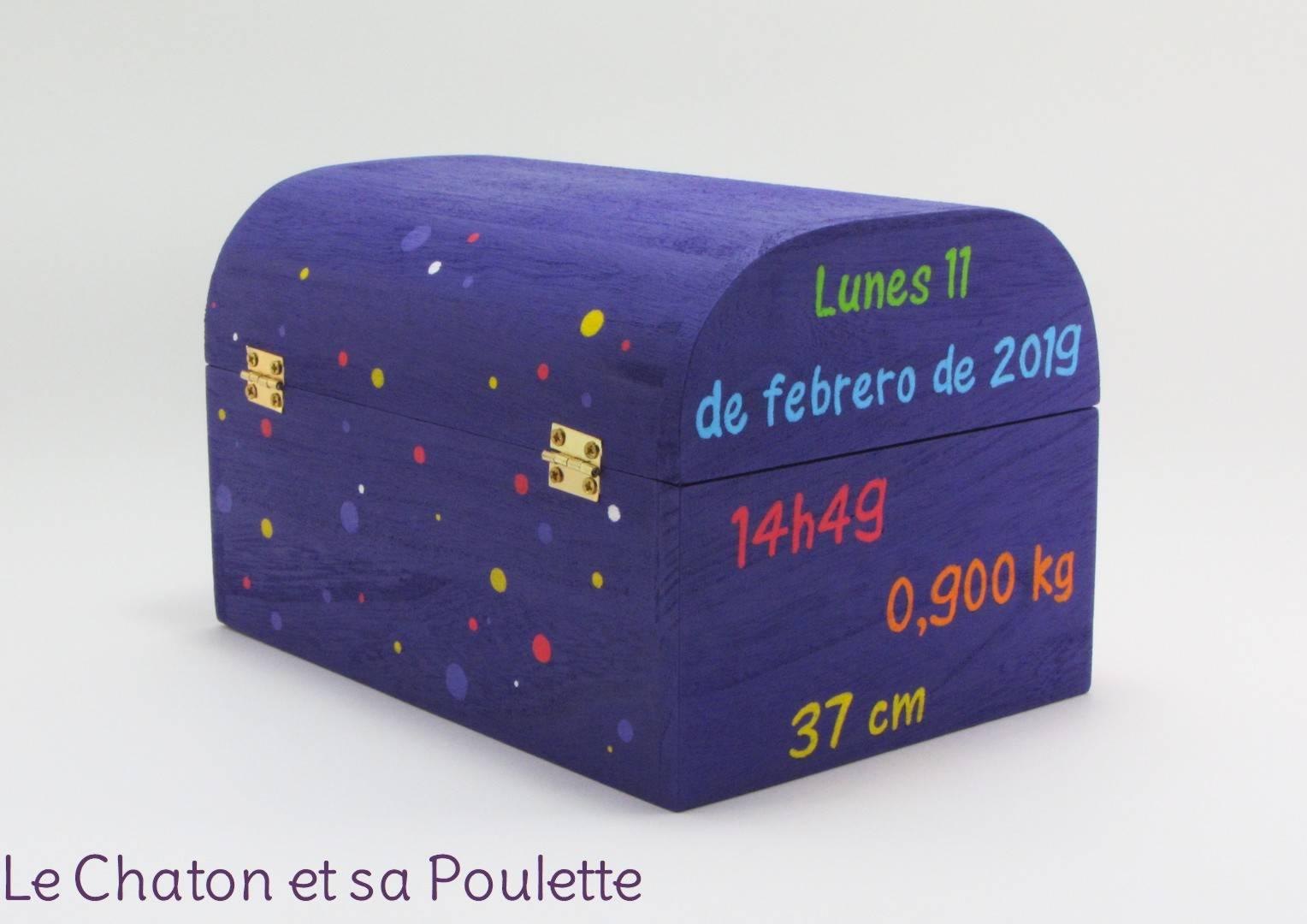 Coffret violet Mateo, informations de naissance