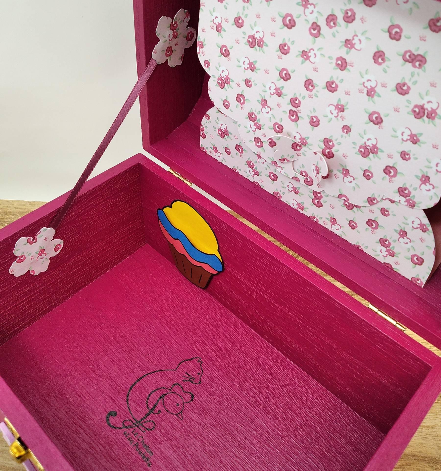 Coffret fuchsia Hana, intérieur avec pochette cupcake et pochette dans le couvercle