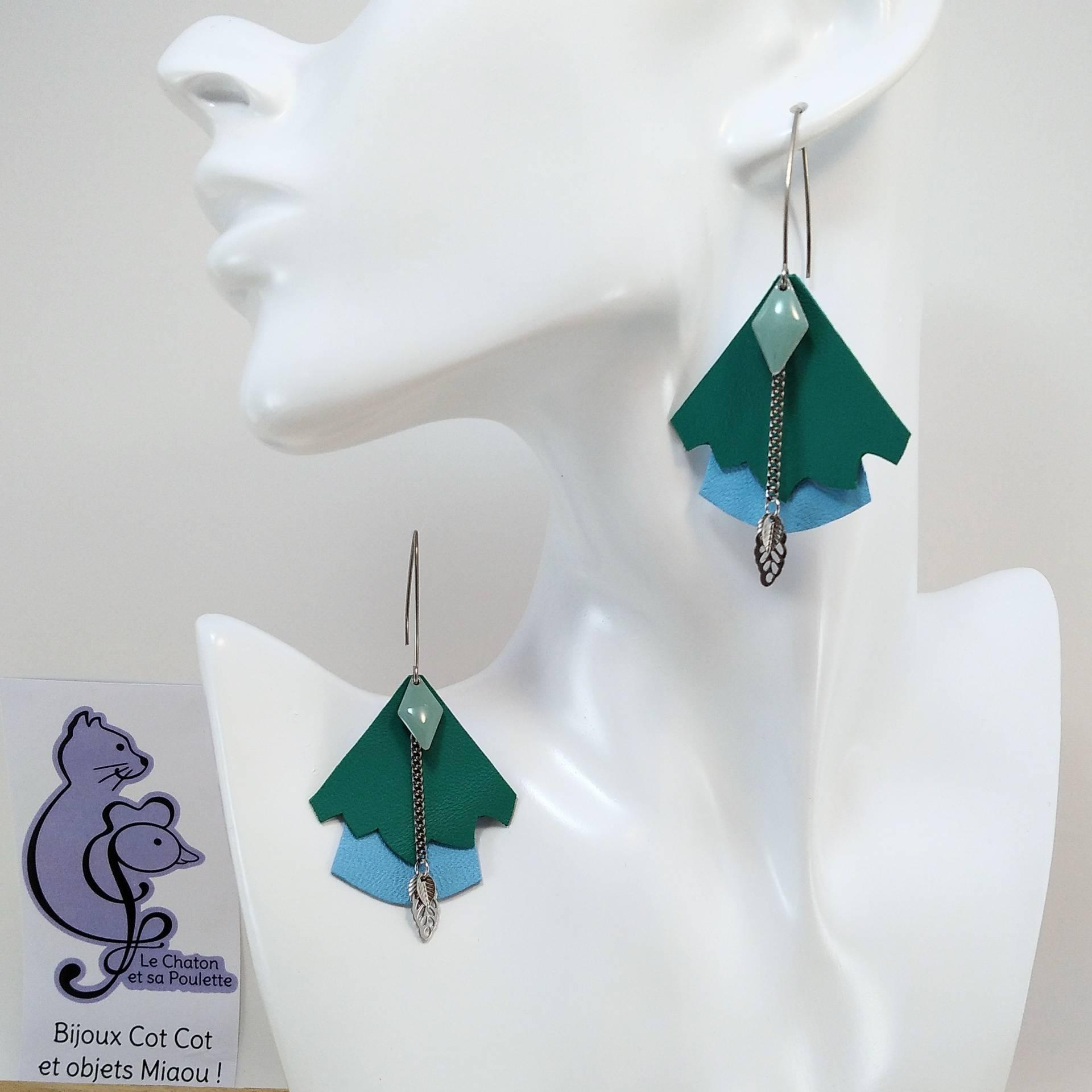 VENDUES ! BO FORMIDABLE modèle n°5 Cuirs vert prasin et bleu azur, breloque diamant vert d'eau