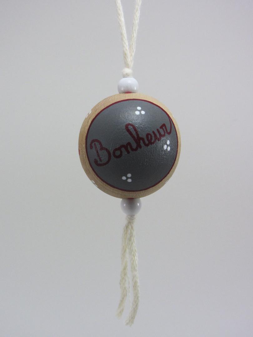 VENDUE - Boule blanche BONHEUR (blanc/rouge/gris) - Le Chaton et sa Poulette